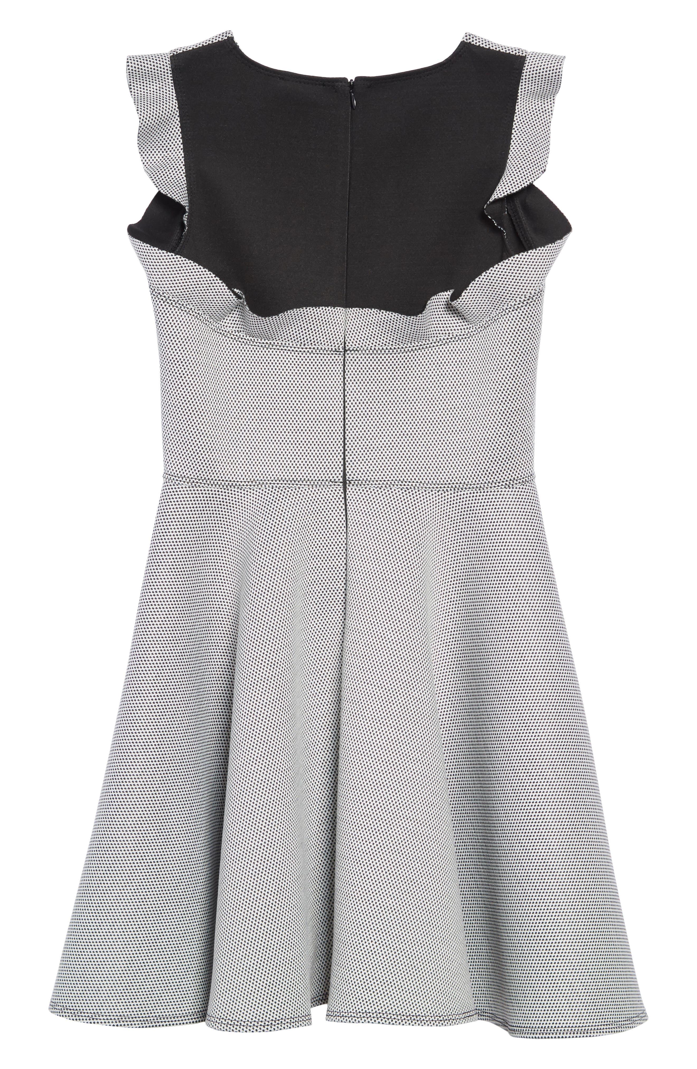 Birdseye Scuba Skater Dress,                             Alternate thumbnail 2, color,                             BLACK
