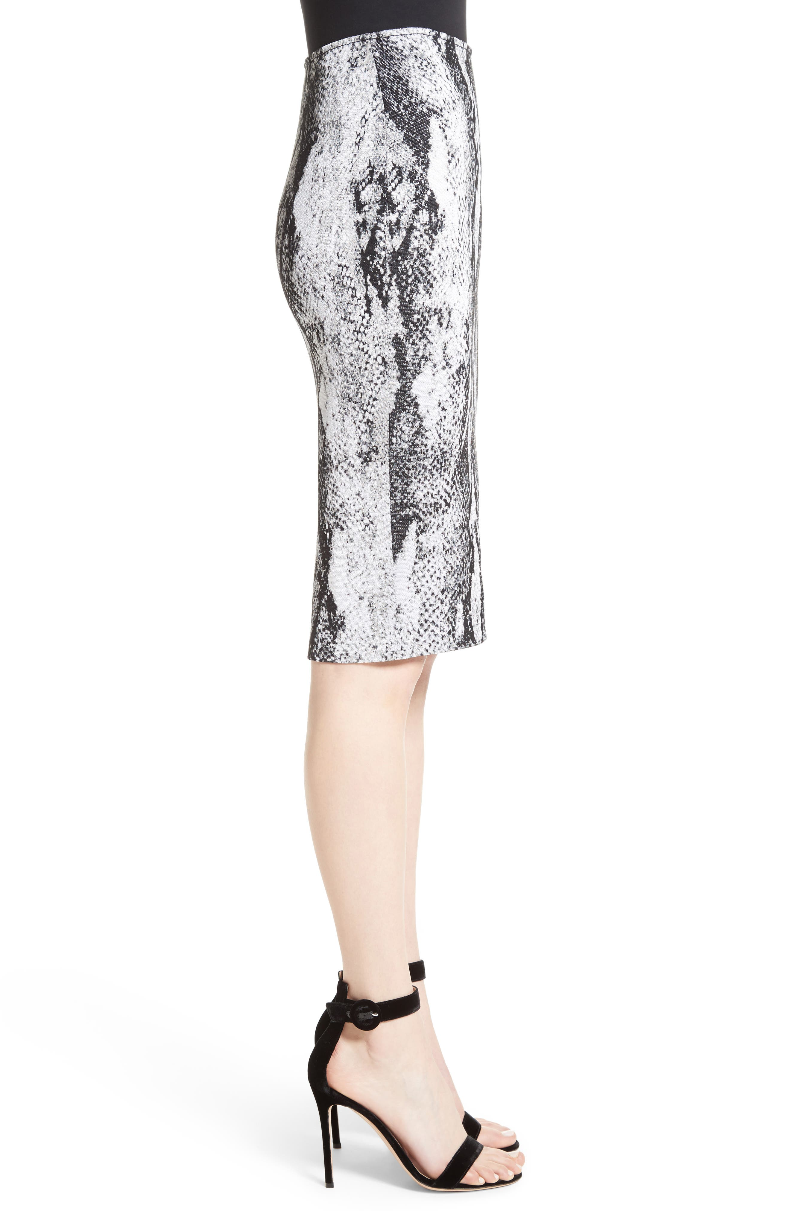 Raja Snakeskin Knit Pencil Skirt,                             Alternate thumbnail 3, color,                             050