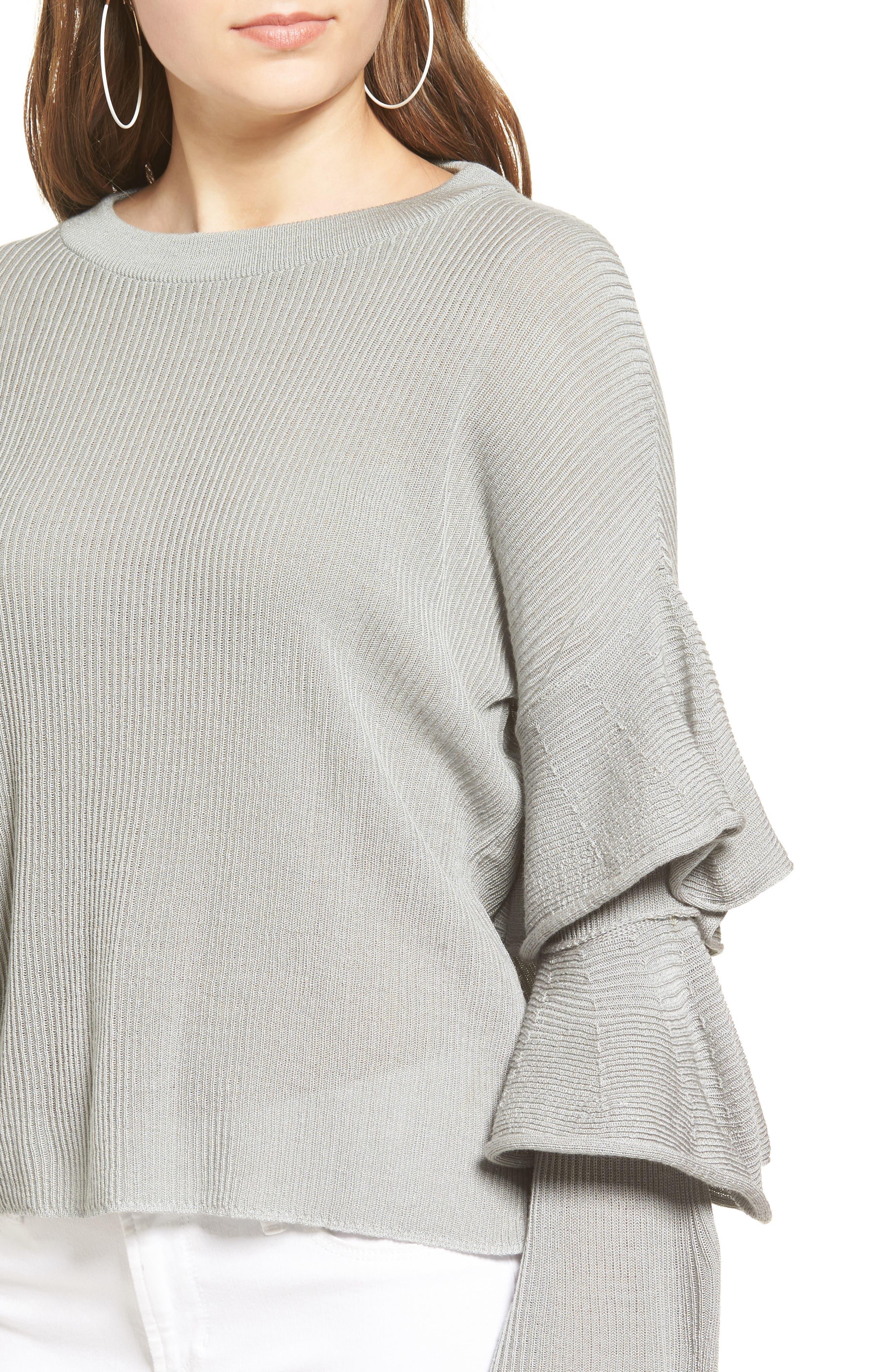 Ruffle Sleeve Sweater,                             Alternate thumbnail 4, color,                             034