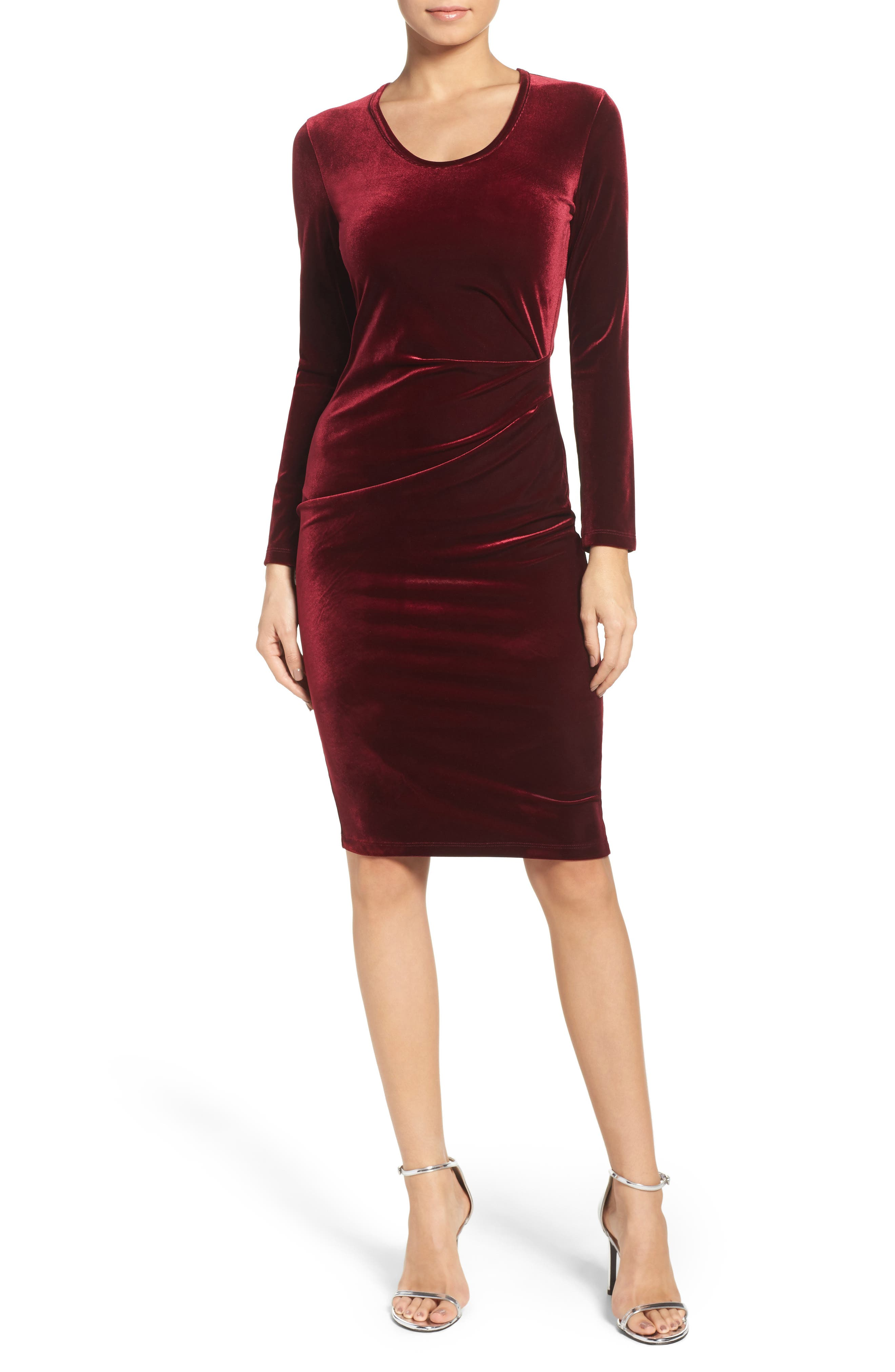 Velvet Body-Con Dress,                             Main thumbnail 1, color,                             609