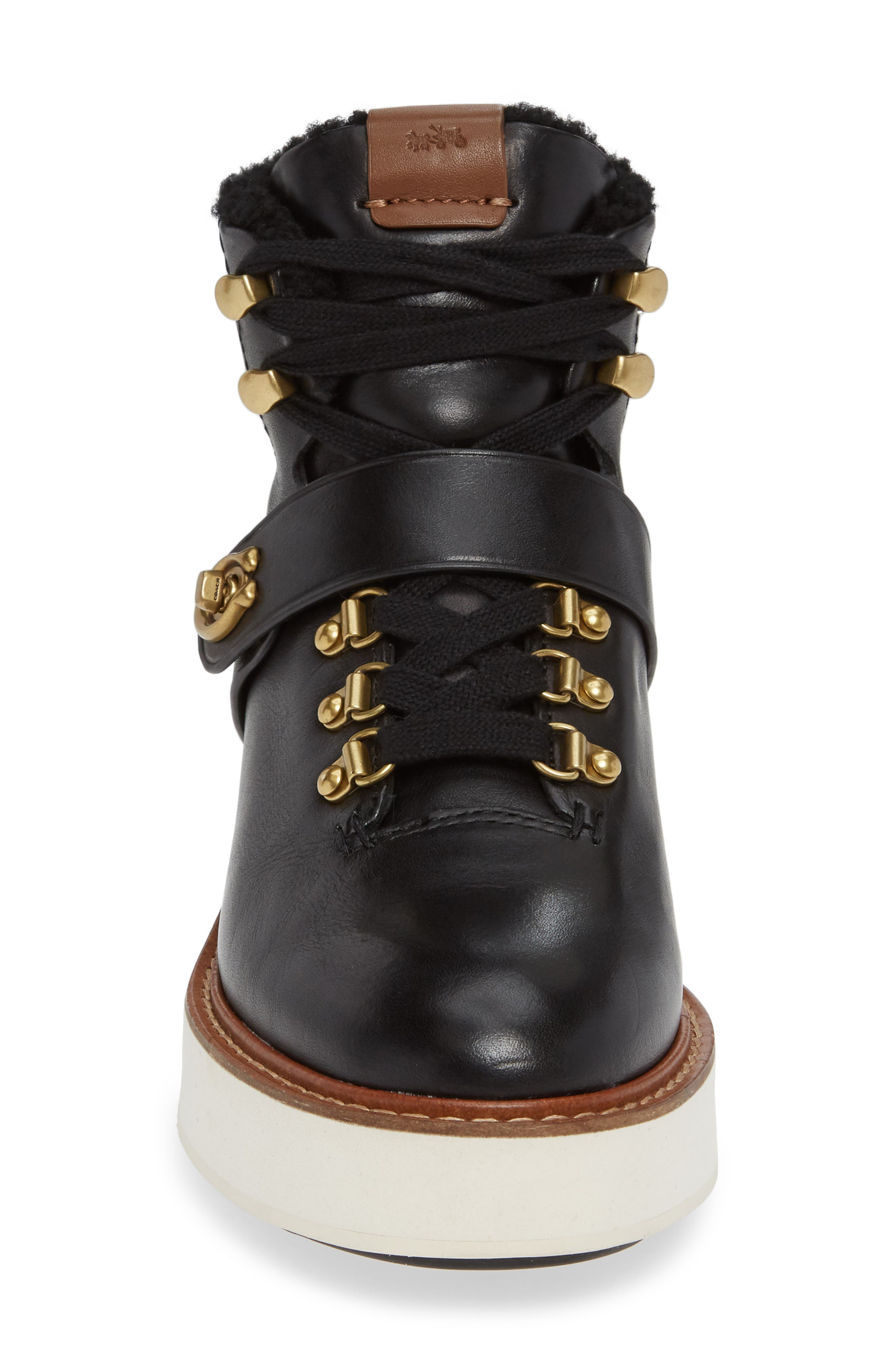 Urban Hiker Genuine Shearling Lined Bootie,                             Alternate thumbnail 4, color,                             001