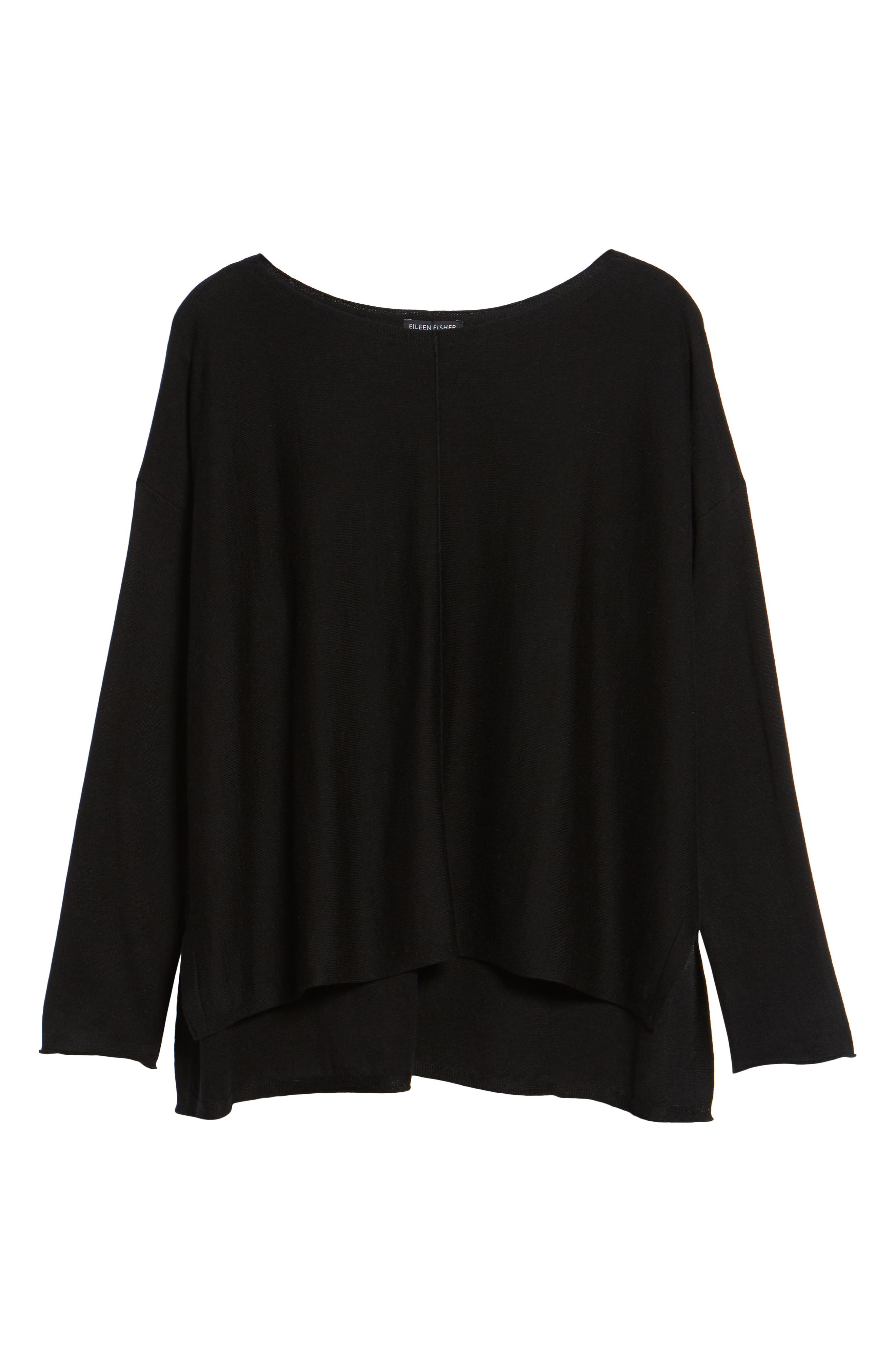 Tencel<sup>®</sup> Lyocell Blend High/Low Sweater,                             Alternate thumbnail 6, color,                             001