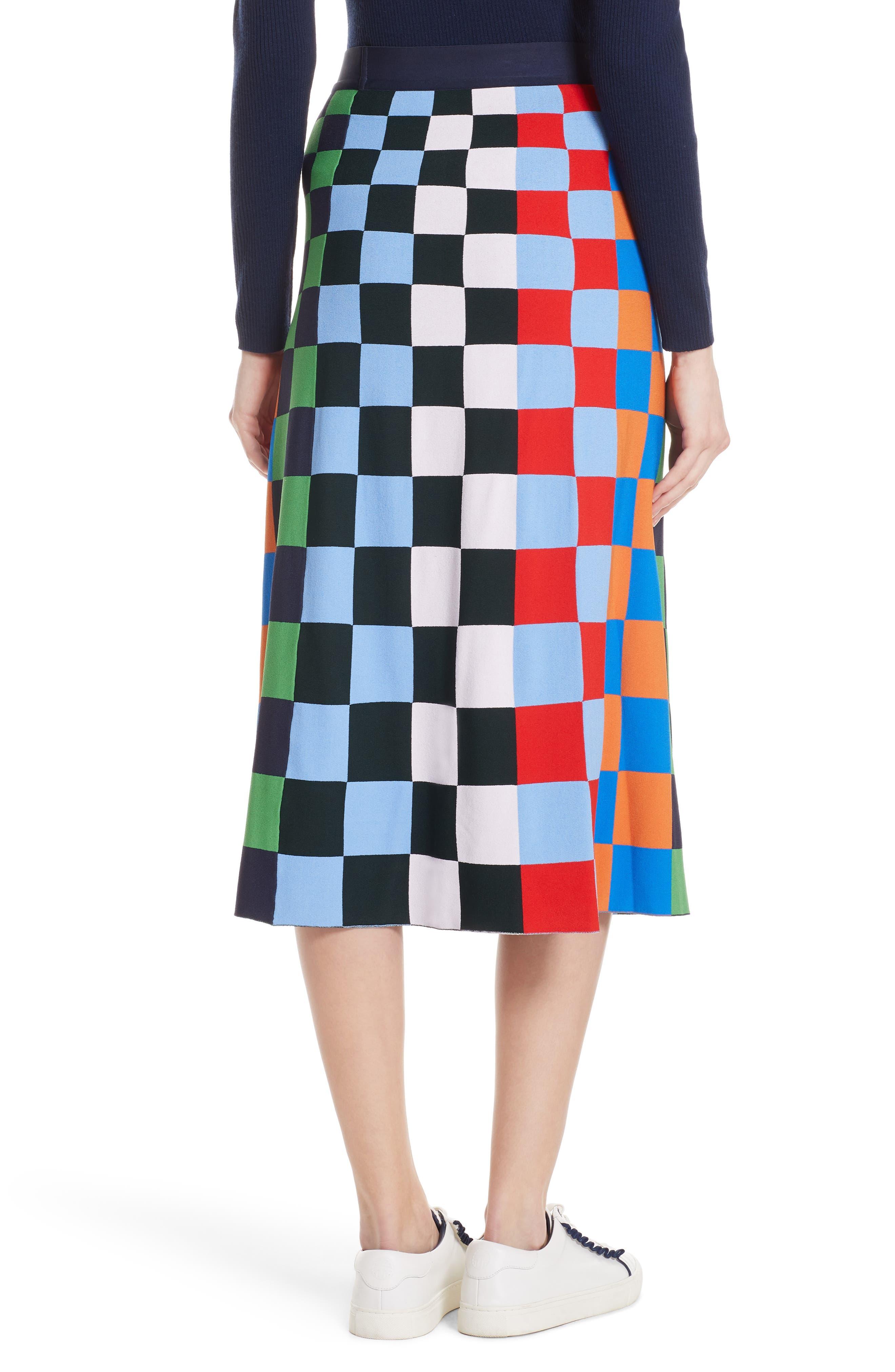 Check Tech Knit Skirt,                             Alternate thumbnail 2, color,                             CHECK STRIPE ALLOVER MULTI