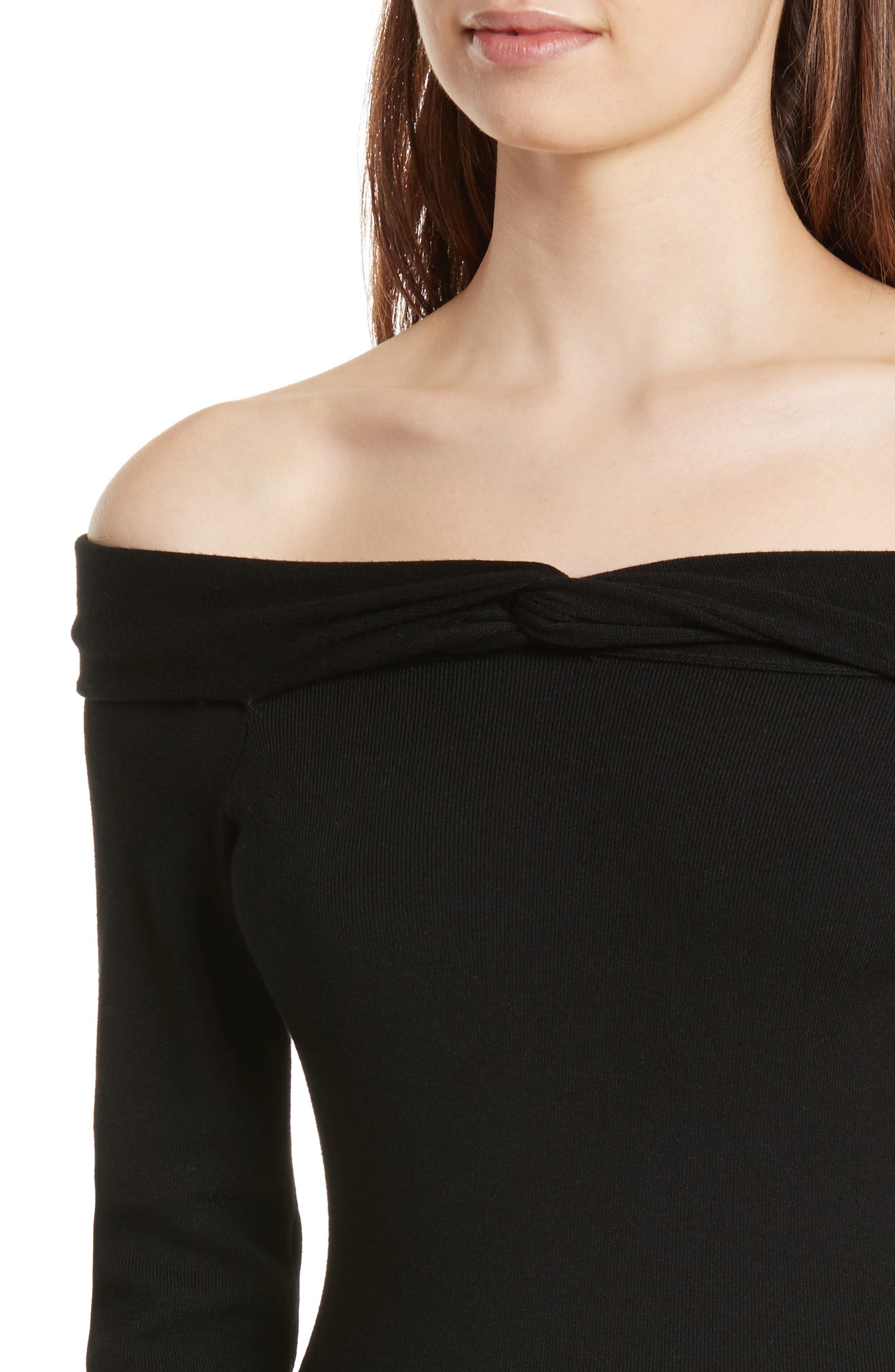 Twisted Off the Shoulder Dress,                             Alternate thumbnail 4, color,                             001