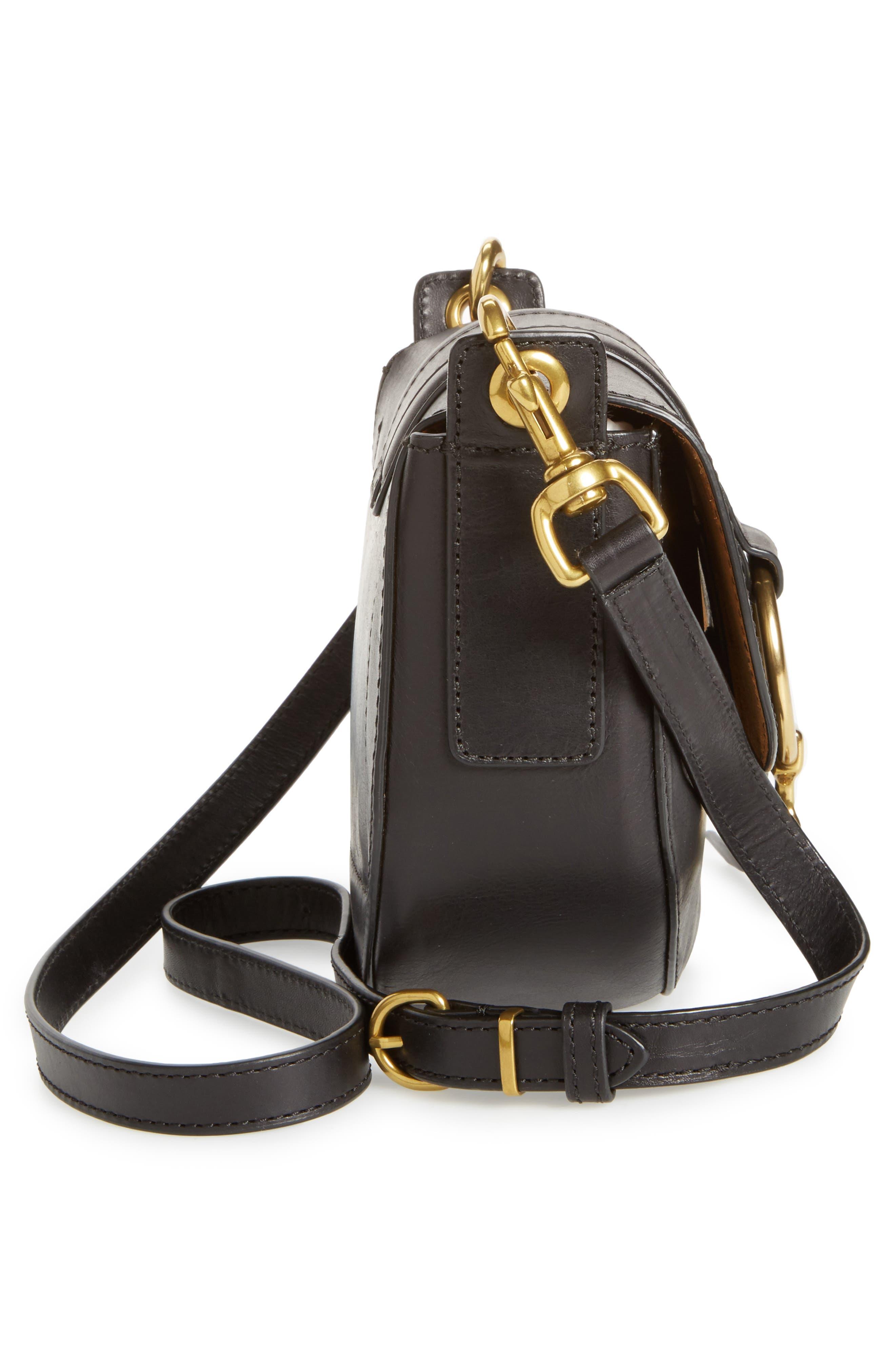 Small Ilana Harness Leather Saddle Bag,                             Alternate thumbnail 5, color,                             001
