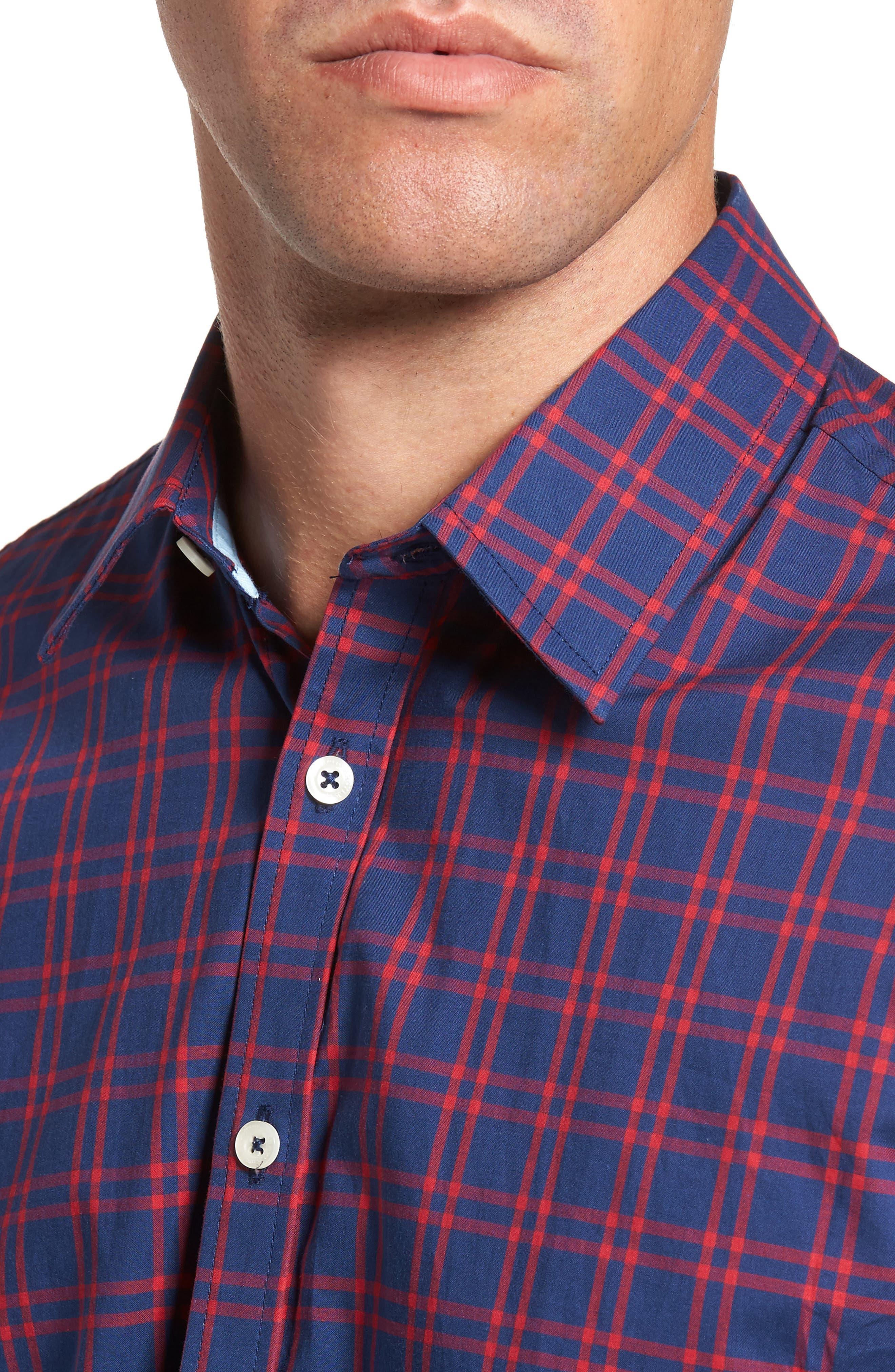 Slim Fit Check Sport Shirt,                             Alternate thumbnail 4, color,