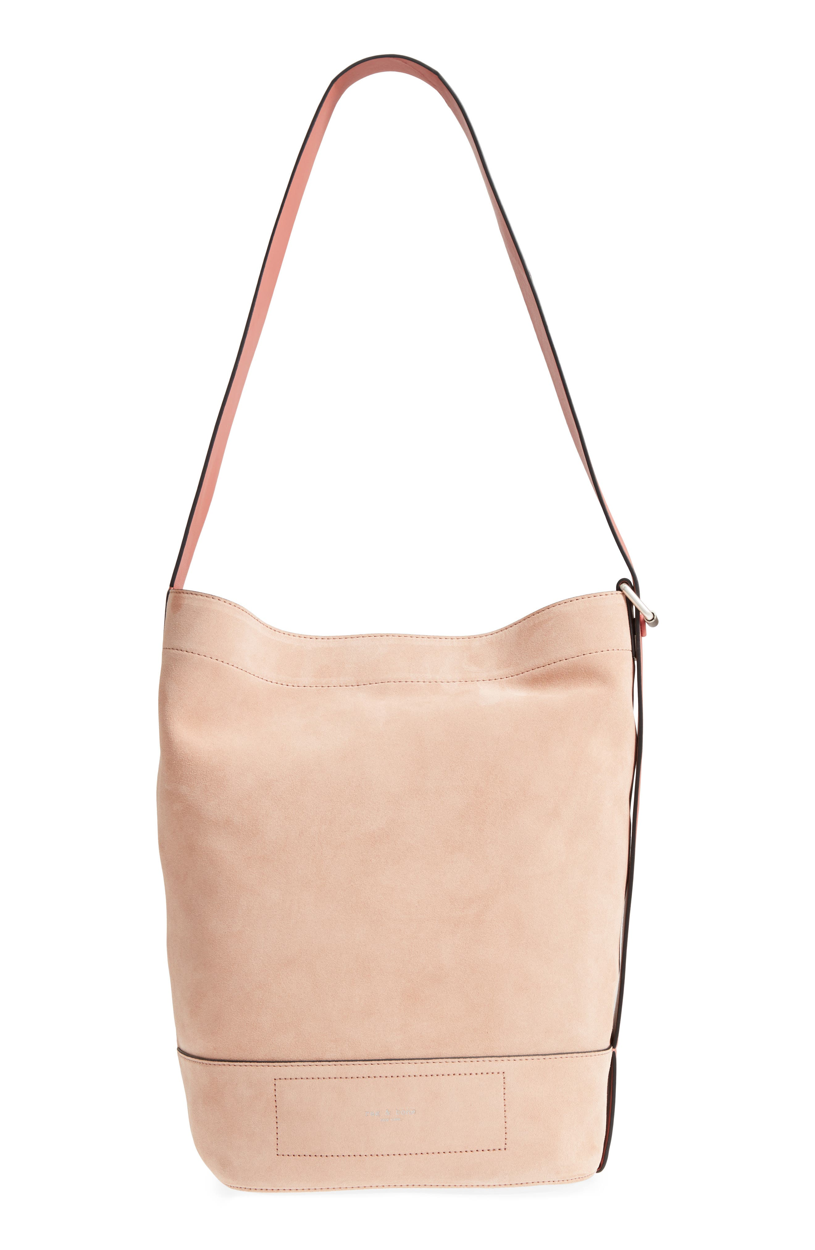 rag + bone Walker Suede & Leather Sling Bag,                             Main thumbnail 1, color,                             NUDE SUEDE COMBO