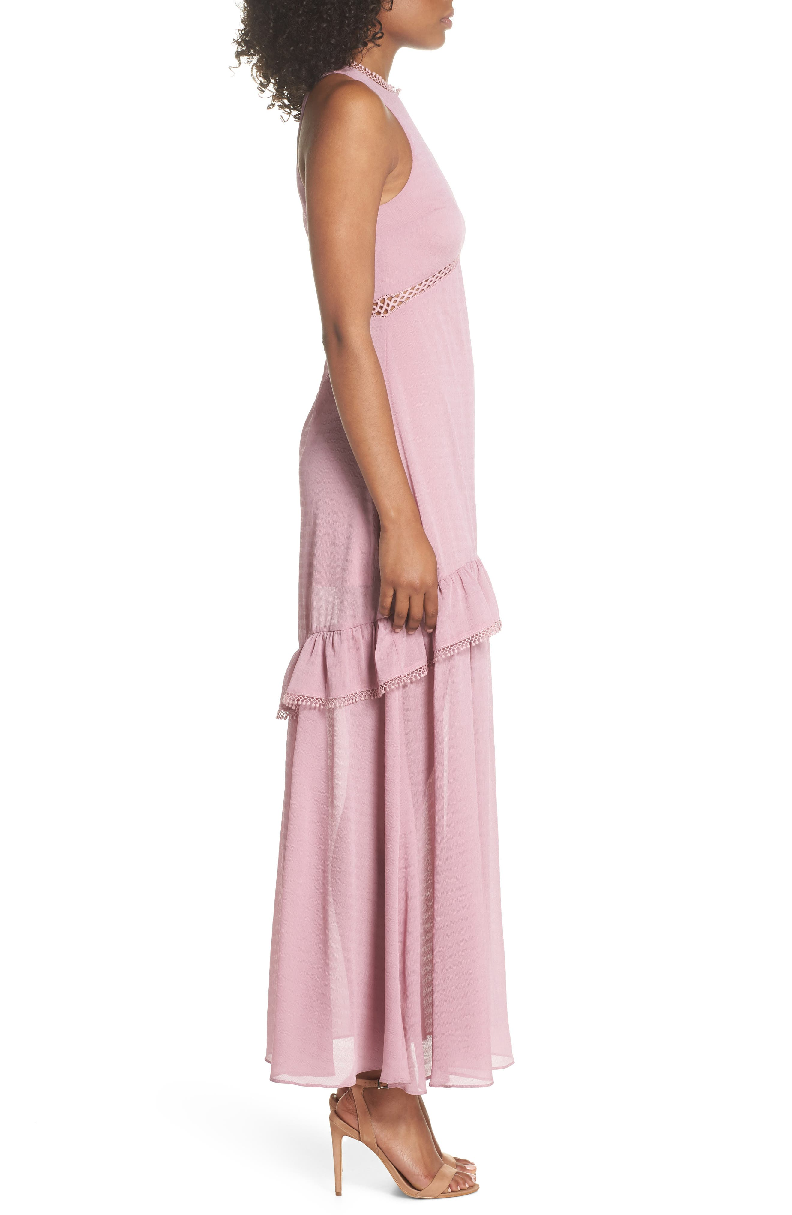 Sleeveless Ruffle Maxi Dress,                             Alternate thumbnail 3, color,                             525