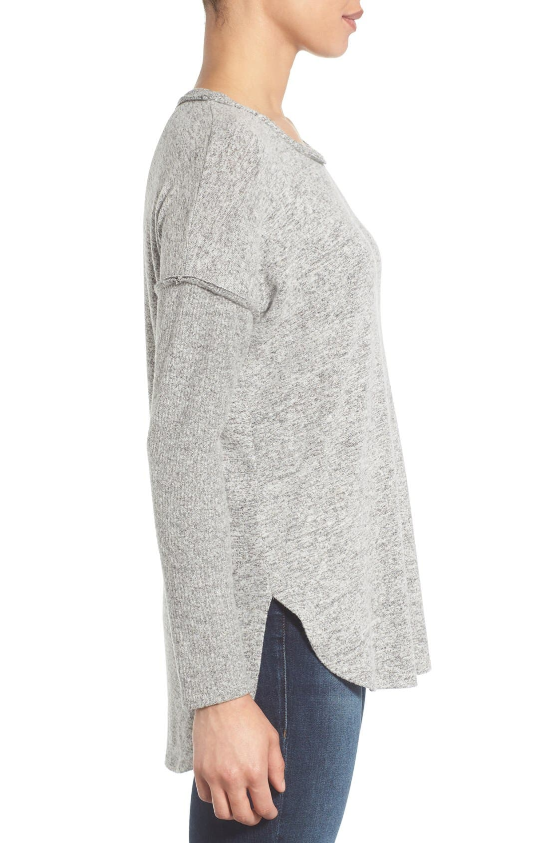 Rib Long Sleeve Fuzzy Top,                             Alternate thumbnail 3, color,                             LIGHT HEATHER GREY