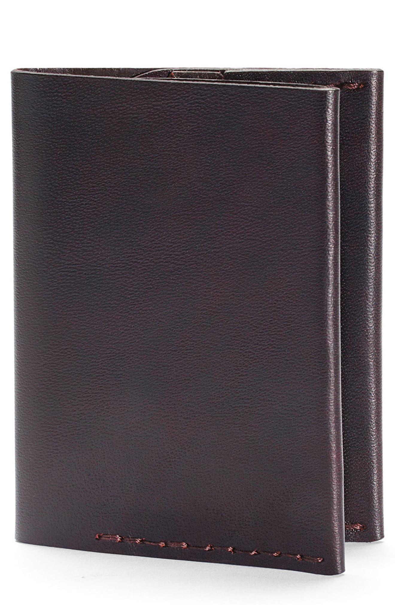 No. 4 Leather Wallet,                         Main,                         color, MALBEC