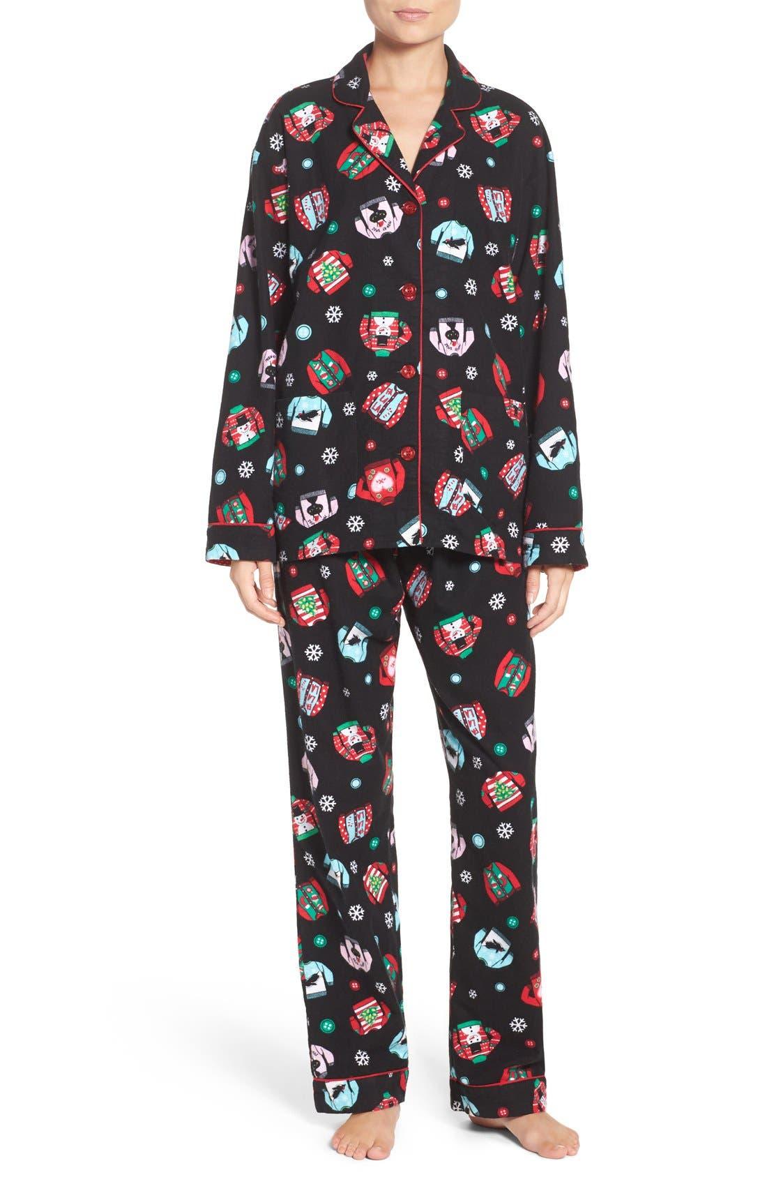 Print Flannel Pajamas,                             Main thumbnail 1, color,                             001