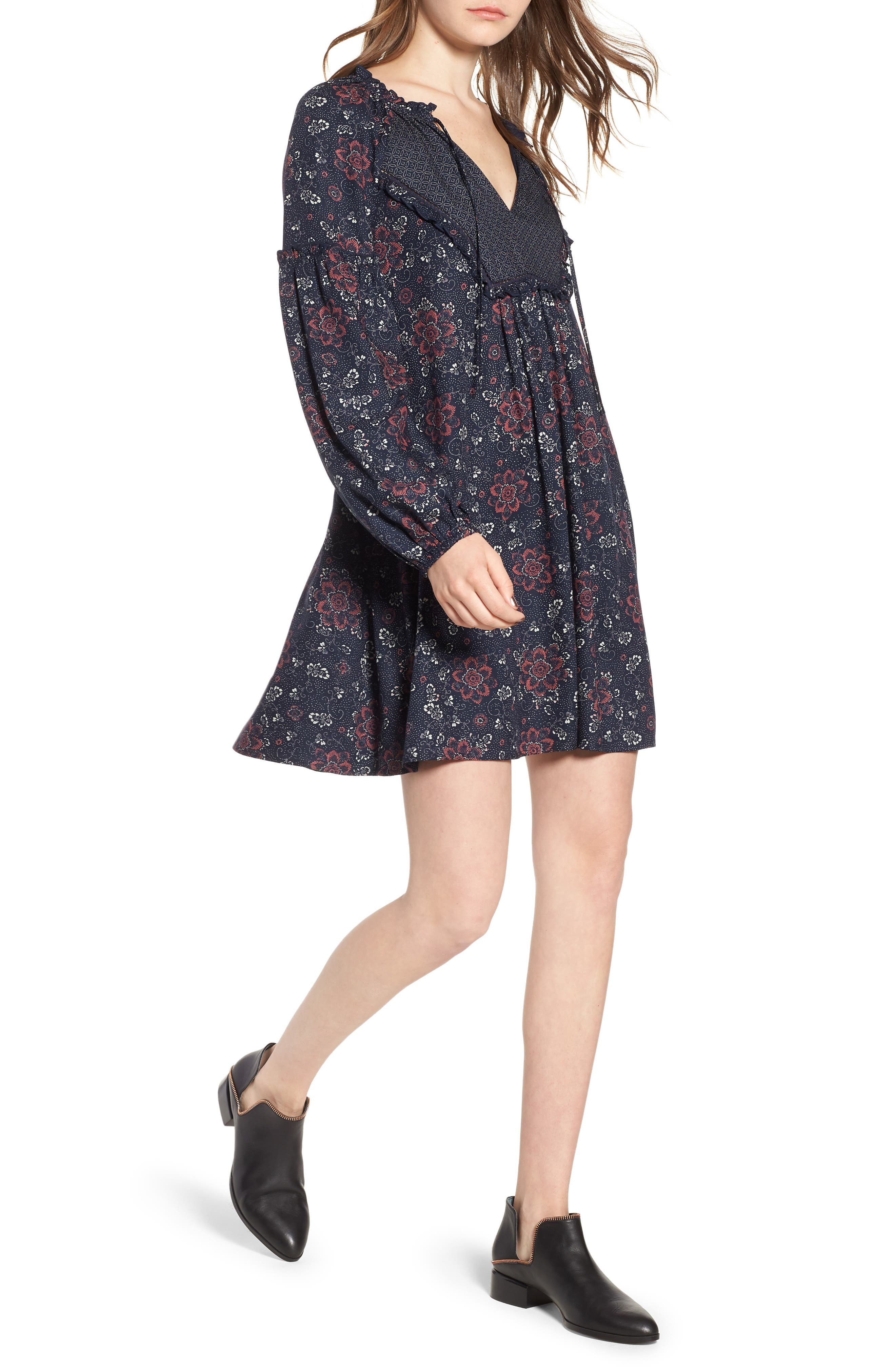 Mix Print Peasant Dress,                         Main,                         color, NAVY NIGHT WOVEN FLORAL MIX