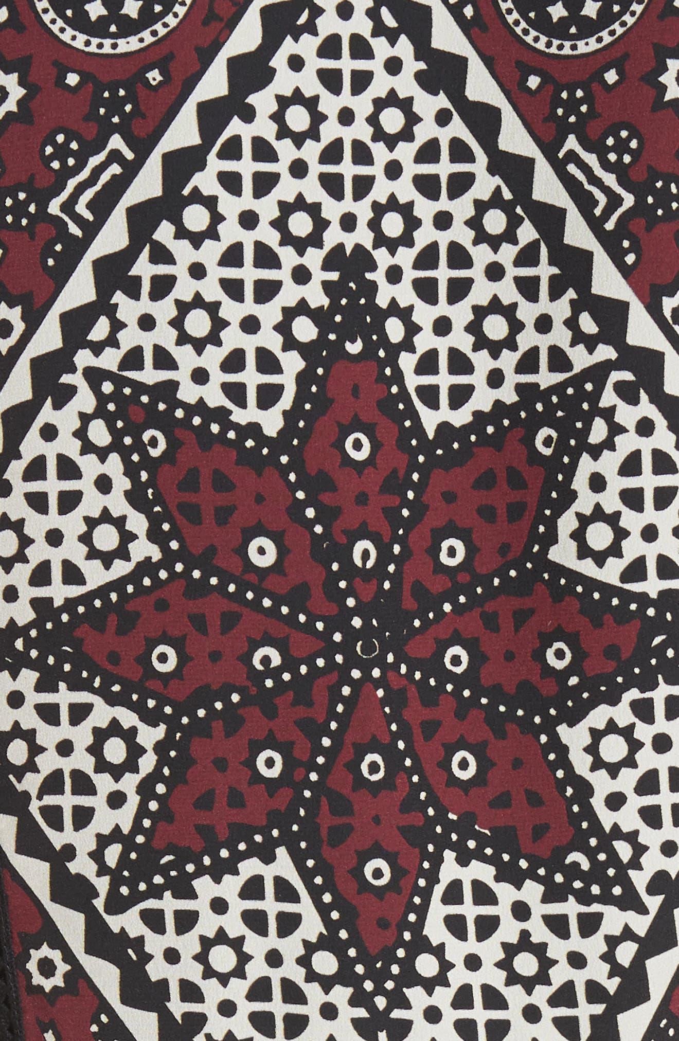 Ezri Print Midi Dress,                             Alternate thumbnail 5, color,                             BRICK MULTI
