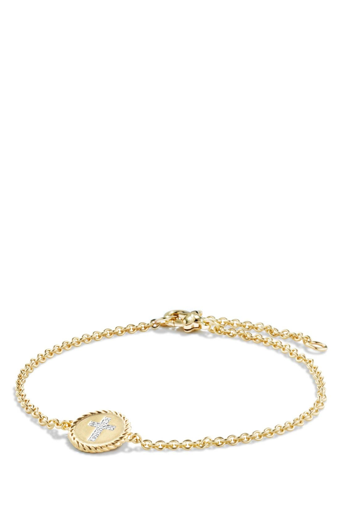 'Cable Collectibles' Cable Pavé Charm Bracelet with Diamonds in Gold,                             Main thumbnail 1, color,                             710