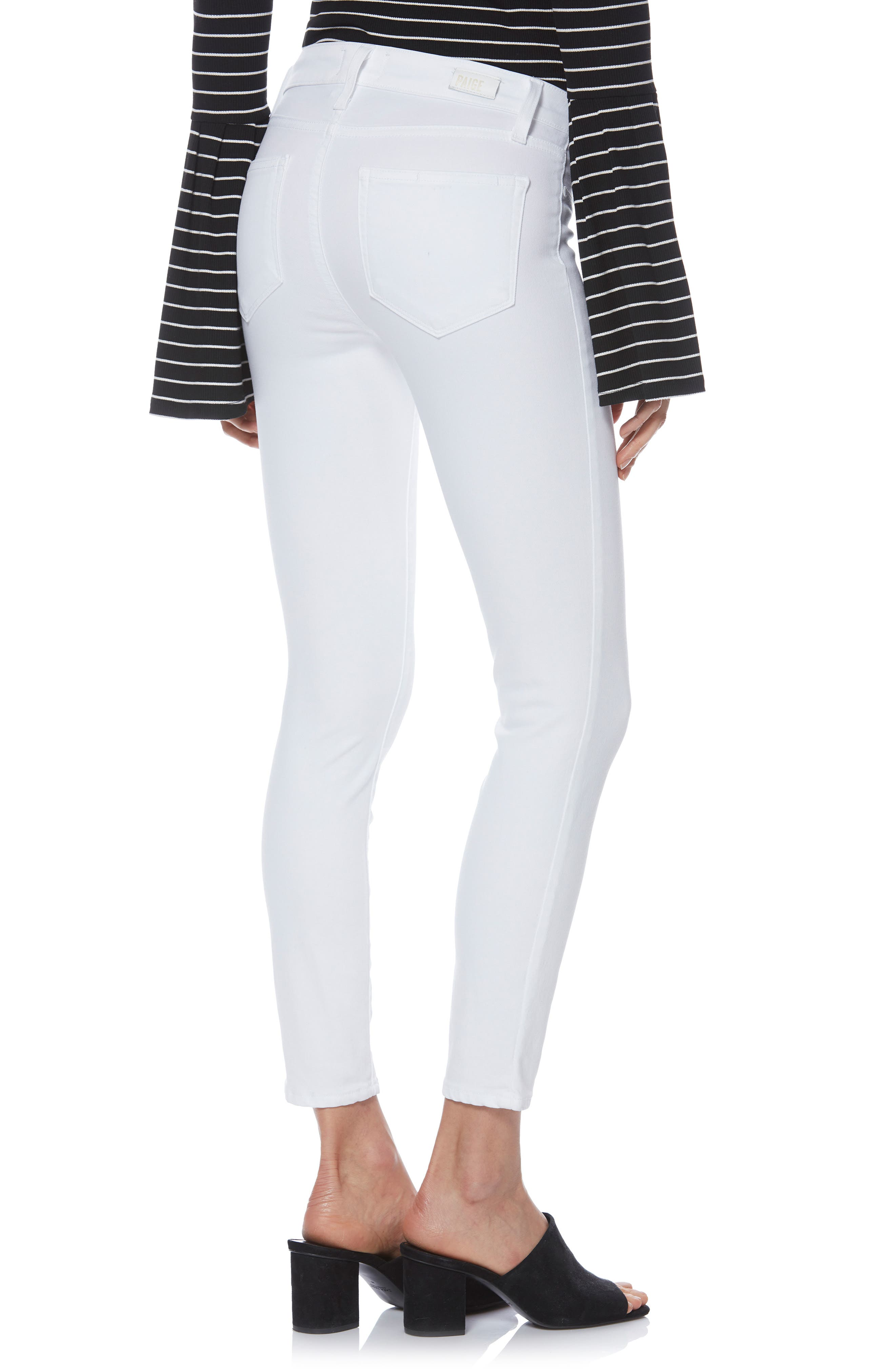 PAIGE,                             Verdugo Faux Pocket Crop Skinny Jeans,                             Alternate thumbnail 2, color,                             VIVID WHITE