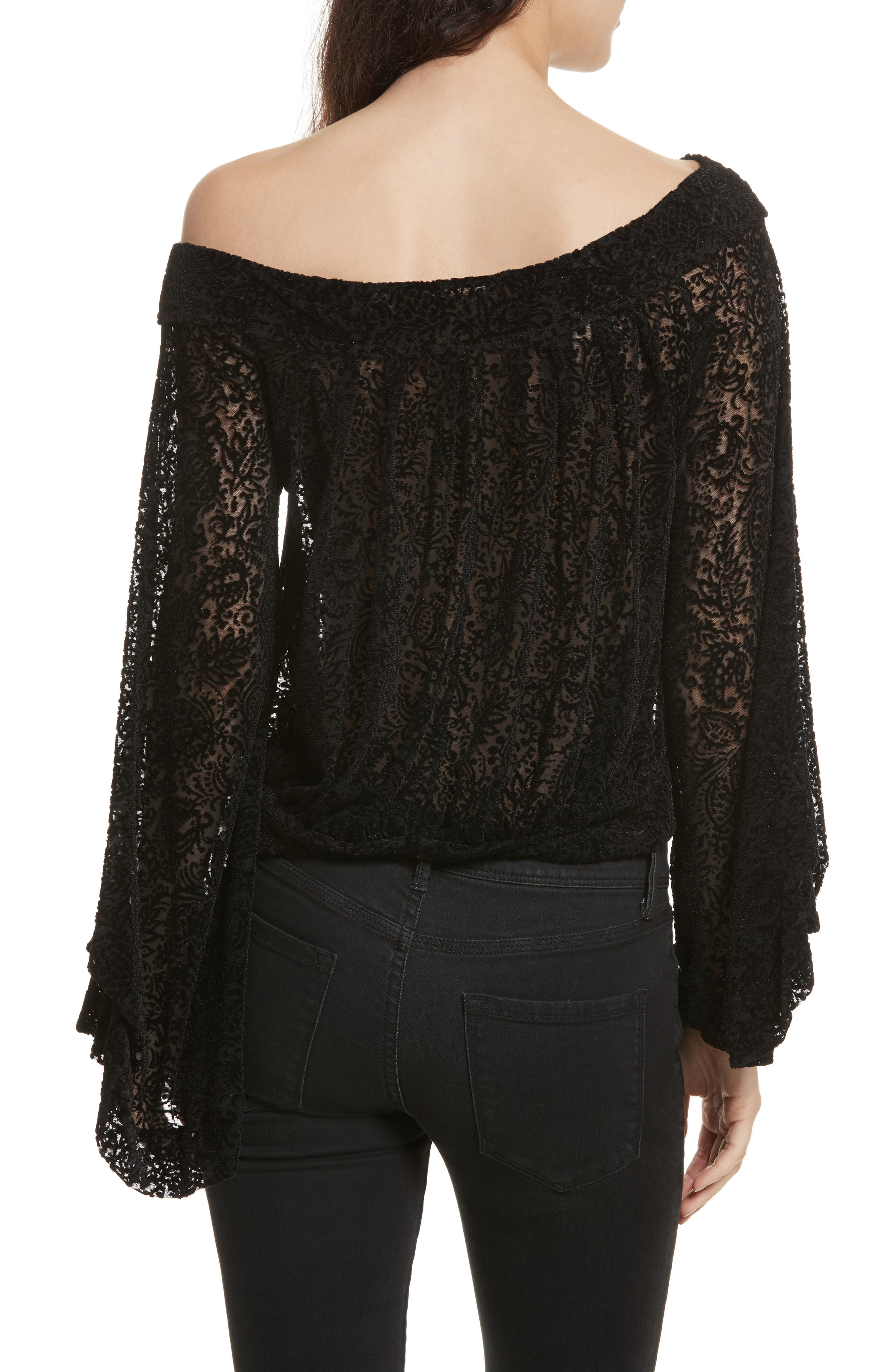 FREE PEOPLE,                             Ginger Berry Off the Shoulder Velvet Top,                             Alternate thumbnail 2, color,                             019