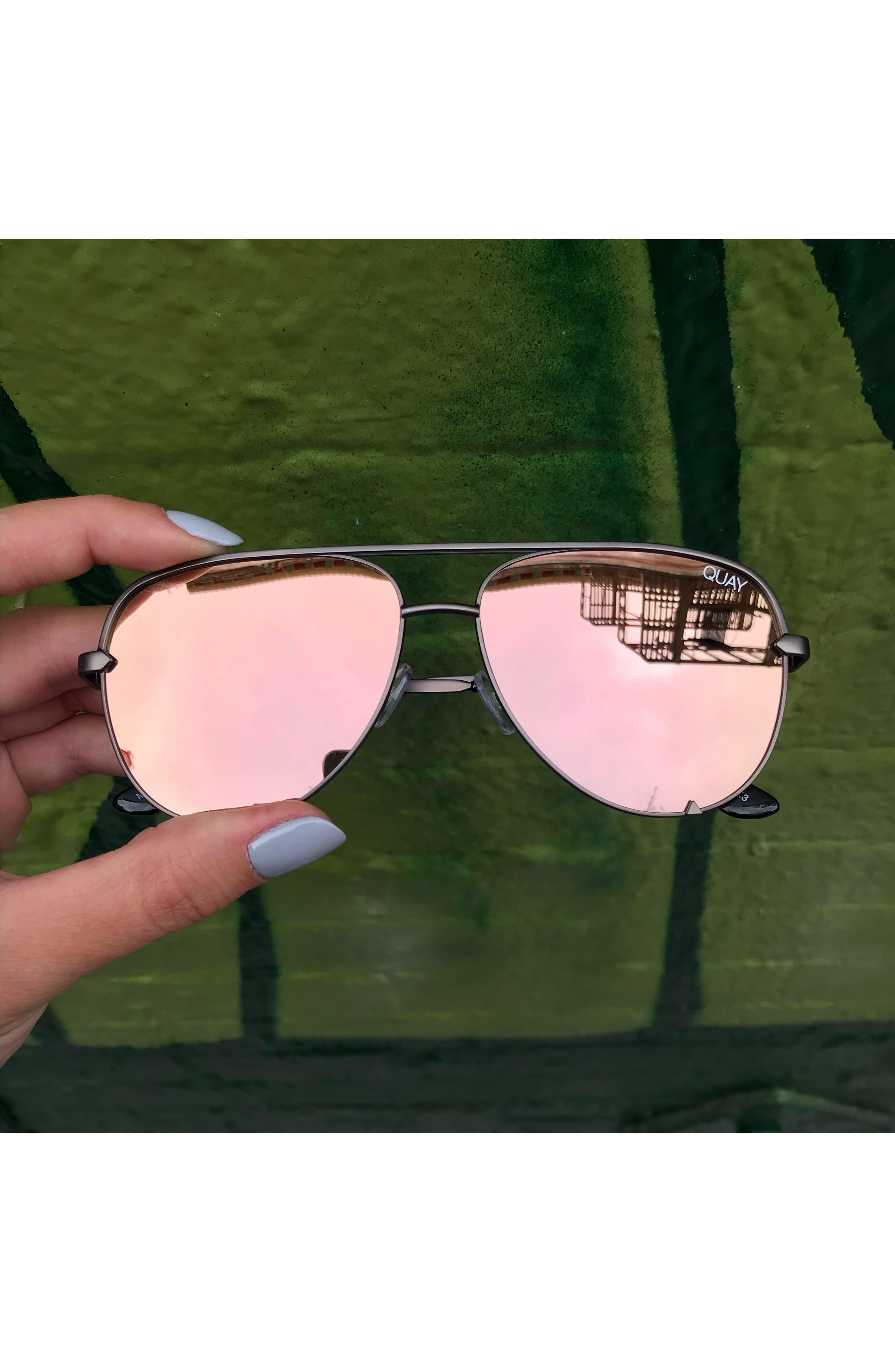 x Desi Perkins High Key Mini 57mm Aviator Sunglasses,                             Alternate thumbnail 5, color,                             GUNMETAL/ ROSE