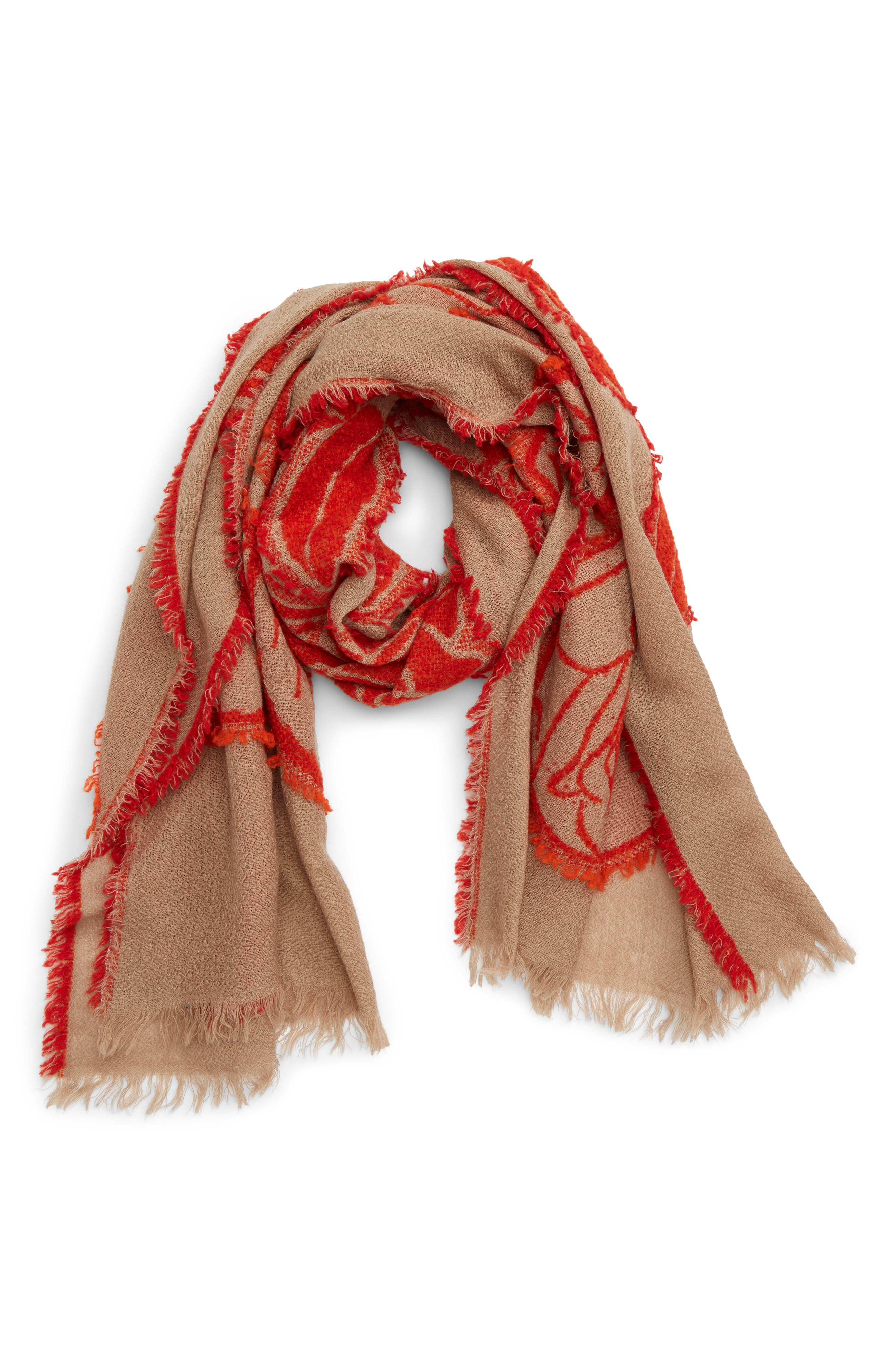 Rose Jacquard Wool Blend Scarf,                             Alternate thumbnail 2, color,                             RED X BEIGE