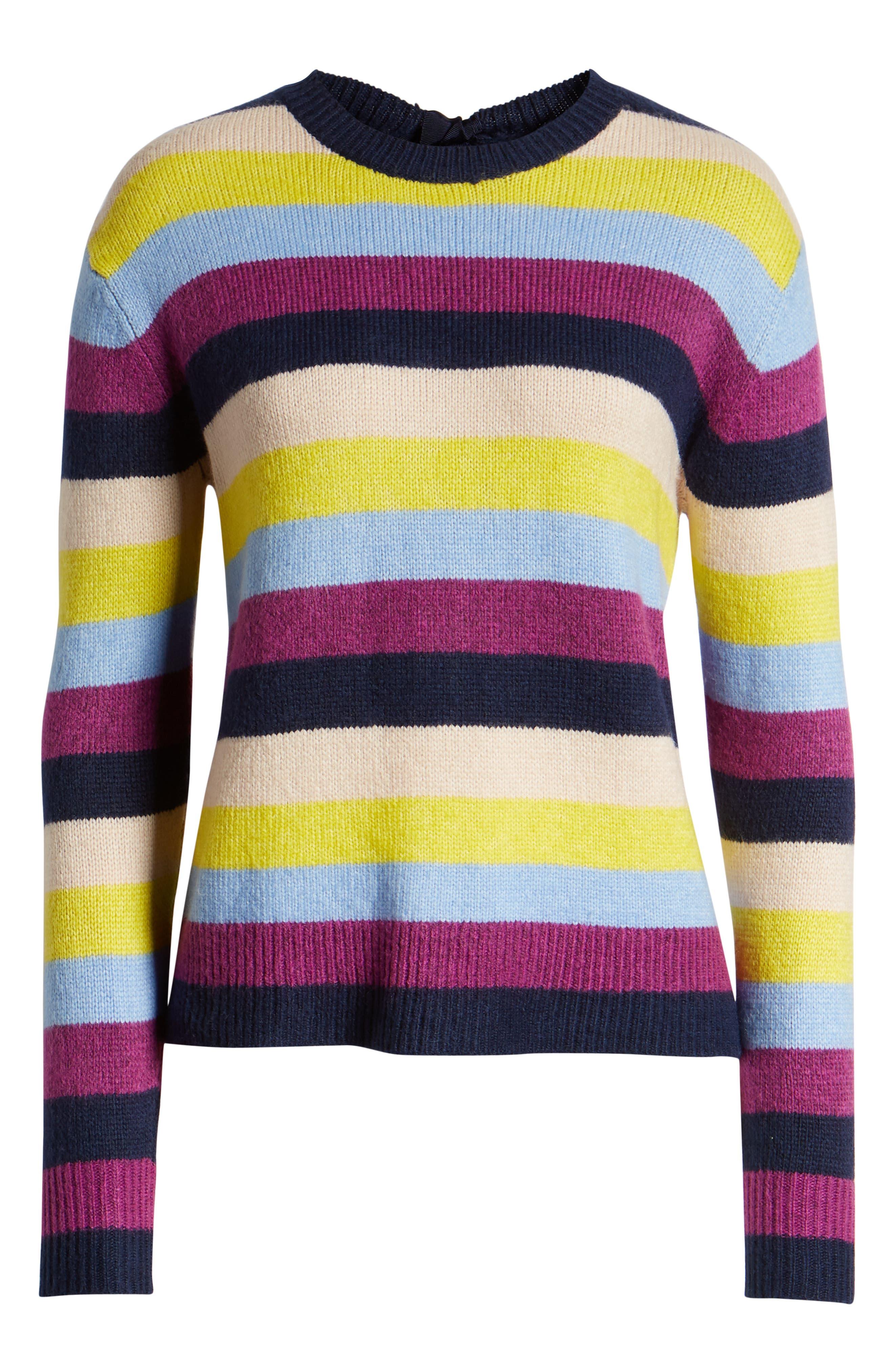 Bow Back Sweater,                             Alternate thumbnail 6, color,                             NAVY MULTI STRIPE