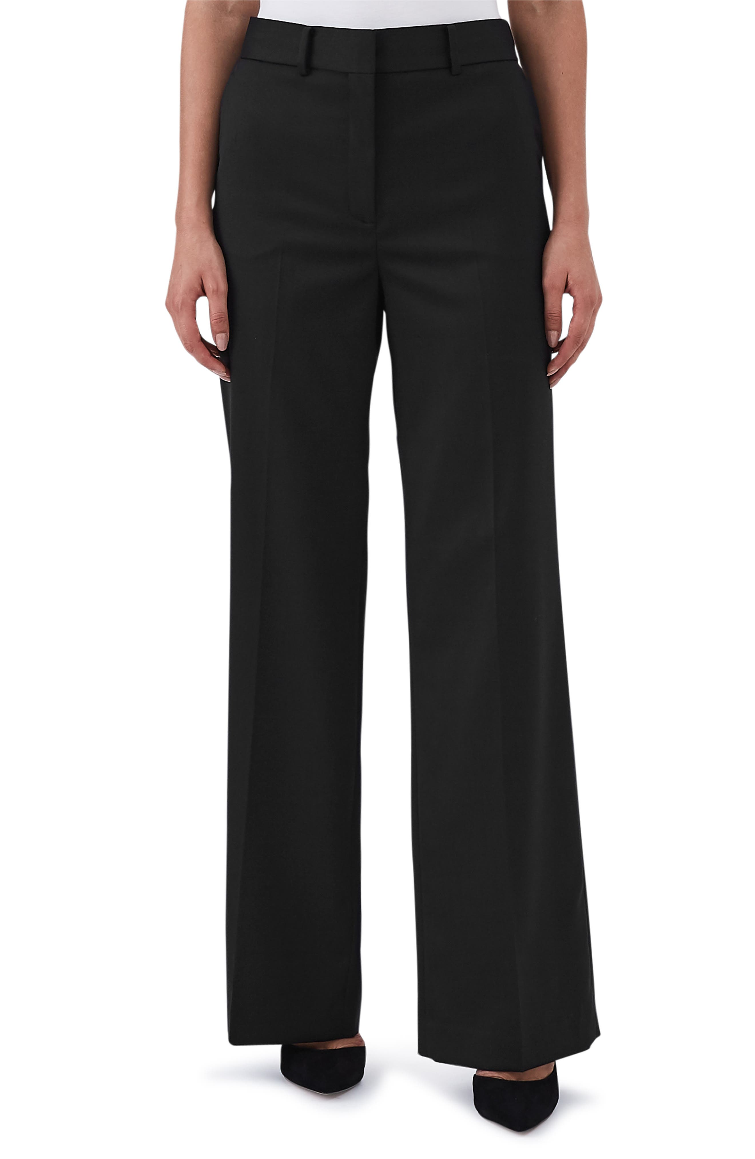 REISS Harper Wide Leg Stretch Wool Trousers in Black