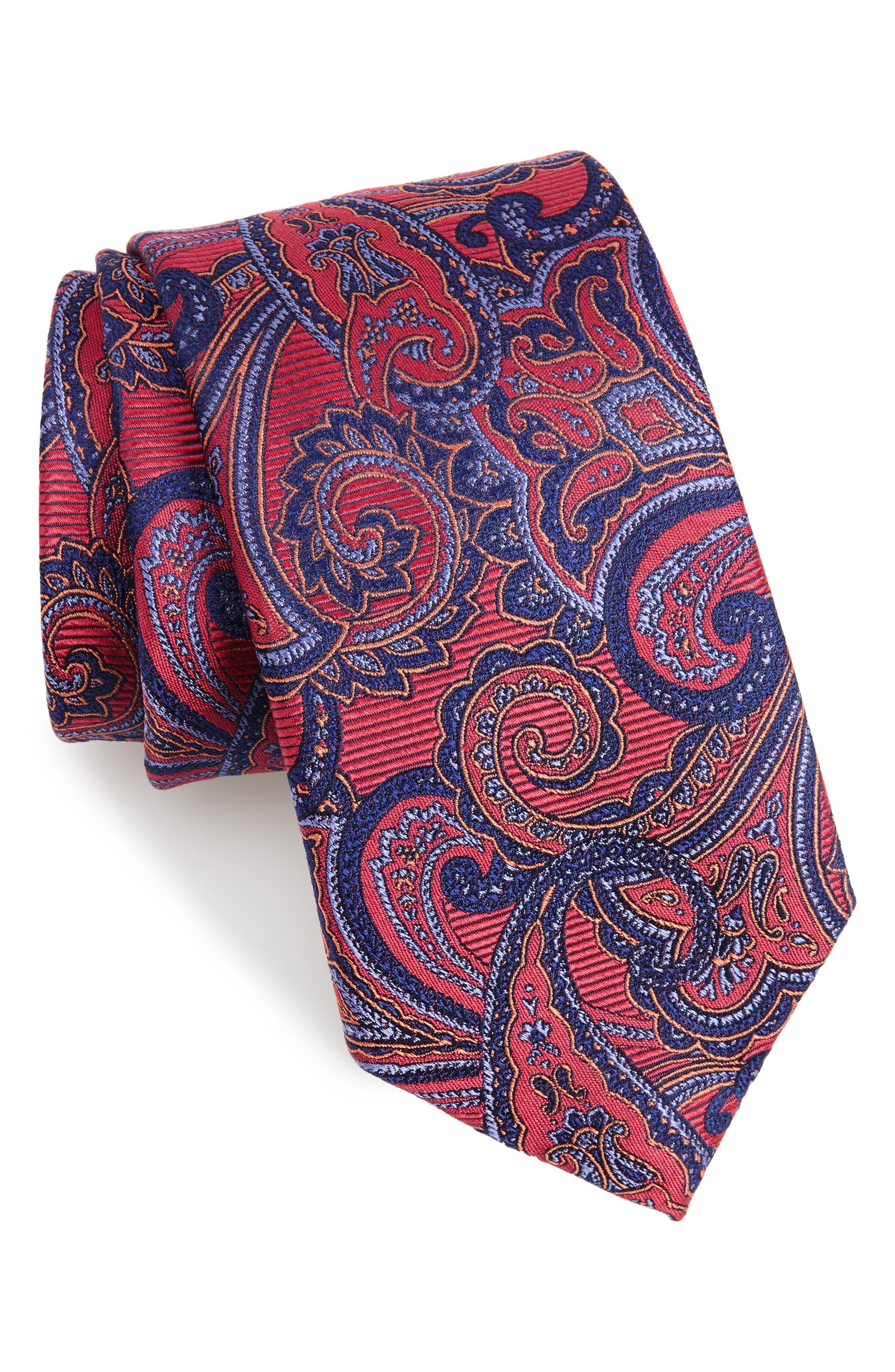 Avalon Paisley Silk Tie,                             Main thumbnail 6, color,