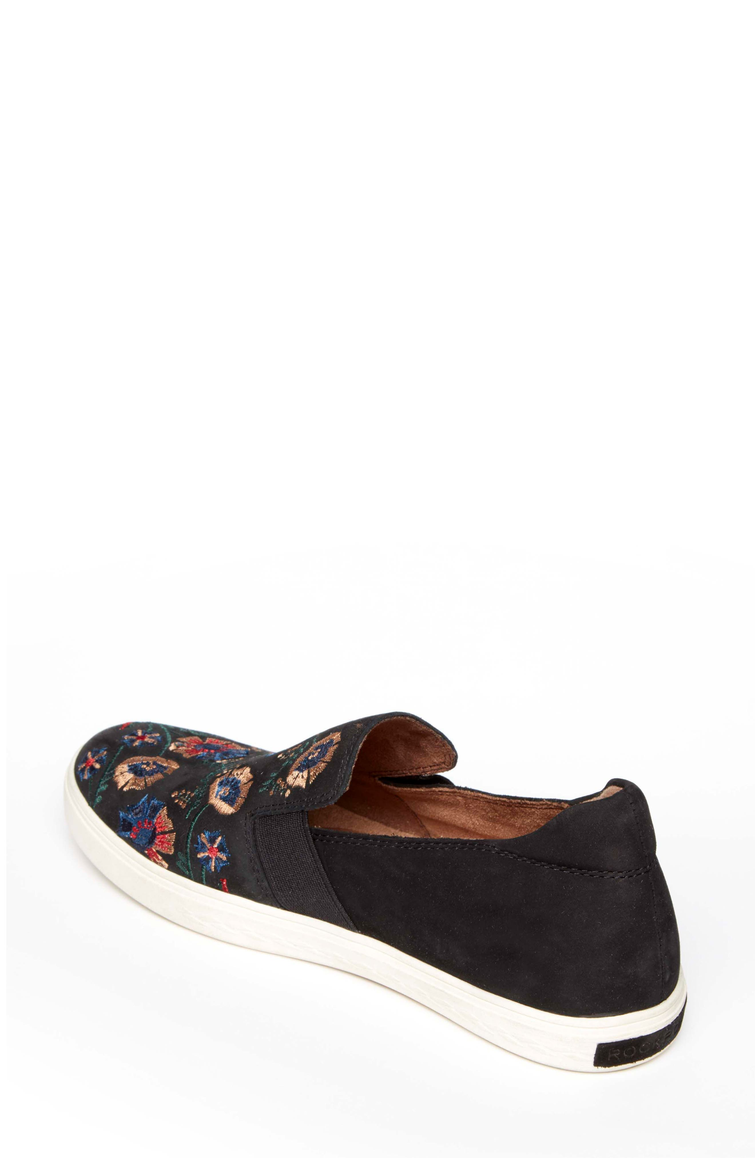 Cobb Hill Flower Embroidered Slip-On Sneaker,                             Alternate thumbnail 2, color,                             BLACK NUBUCK