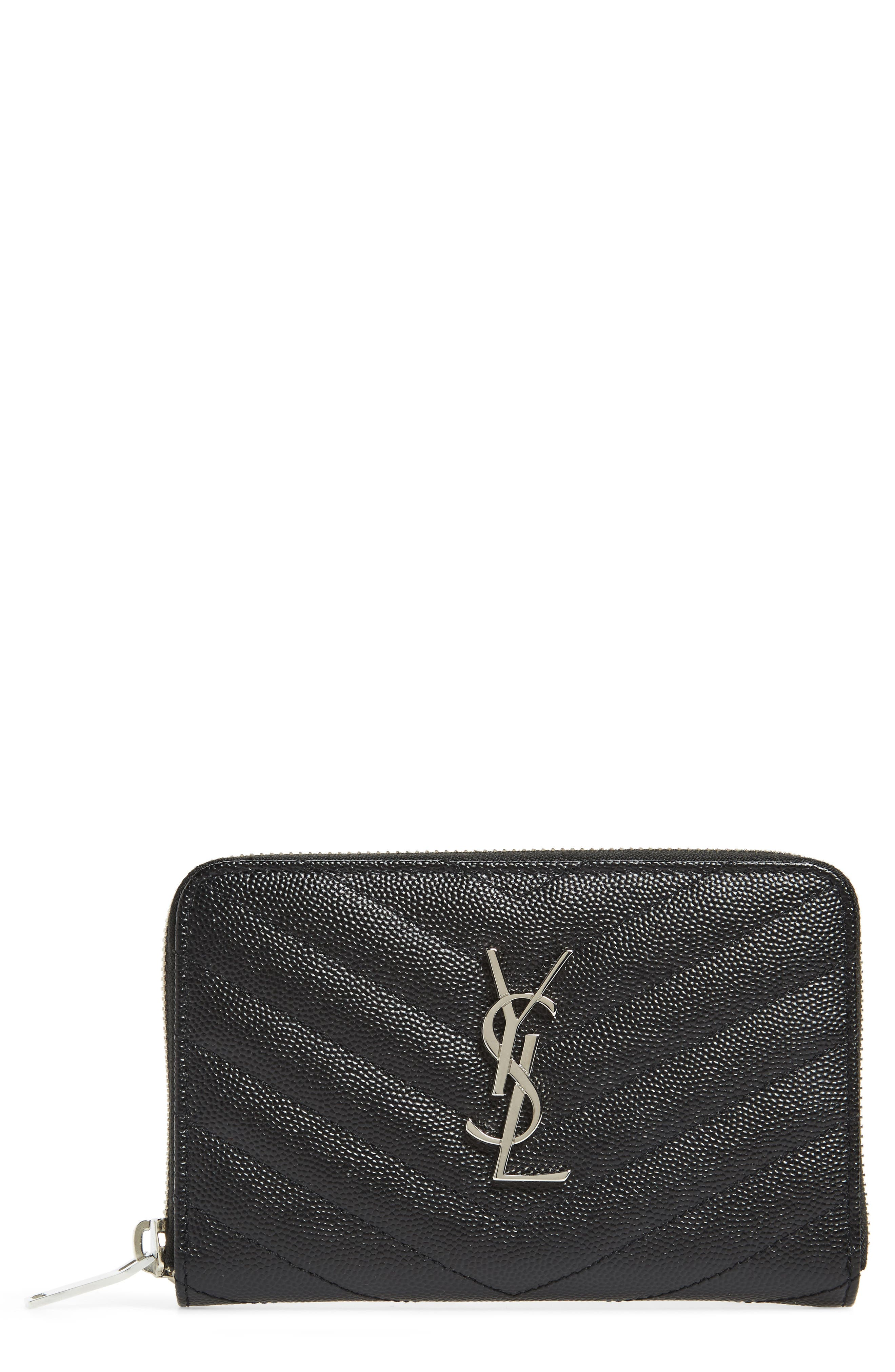 Small Grained Leather Zip Around Wallet,                         Main,                         color, 001