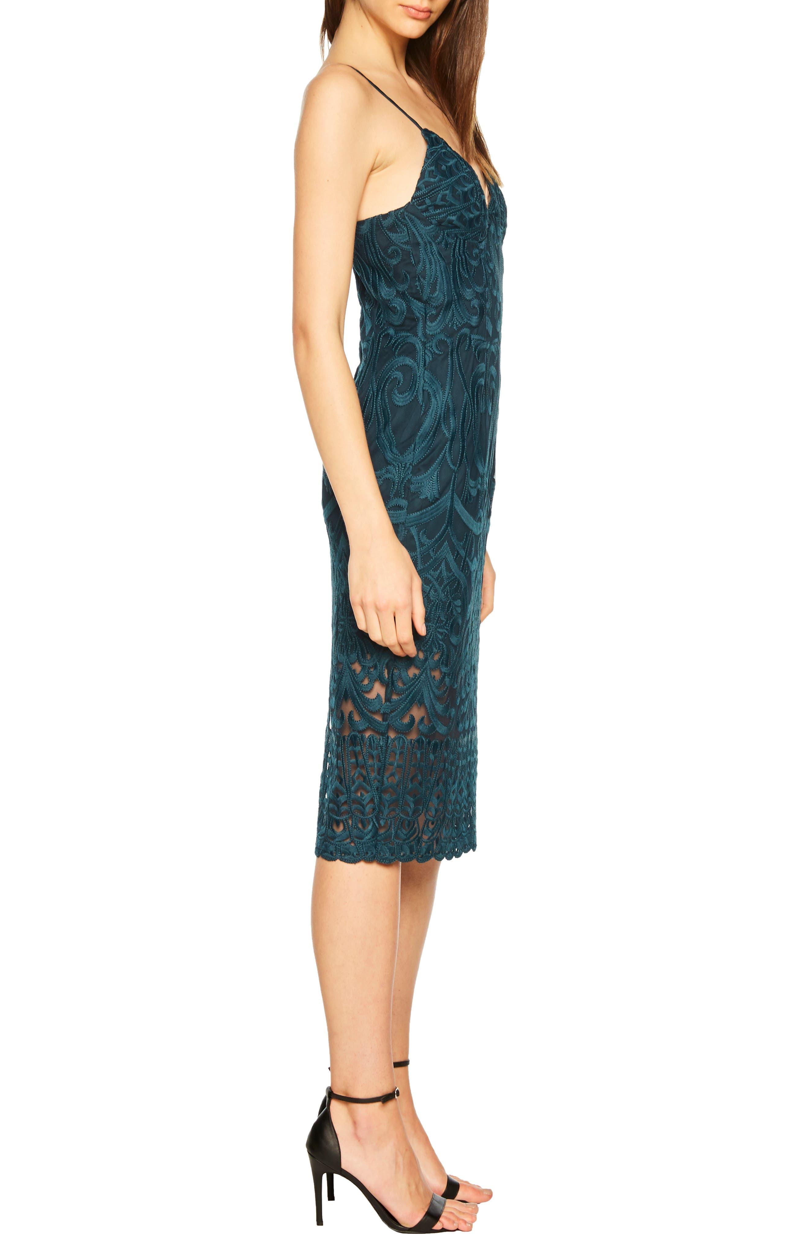 Gia Lace Pencil Dress,                             Alternate thumbnail 3, color,                             ASH BLUE
