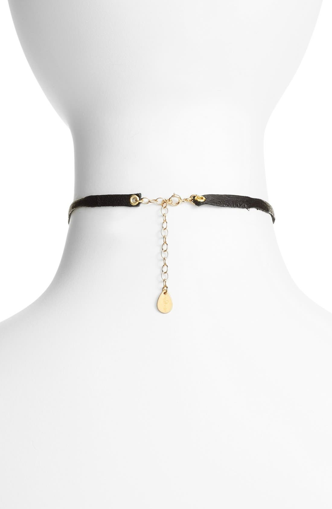 Leather & Chain Choker,                             Alternate thumbnail 4, color,                             001