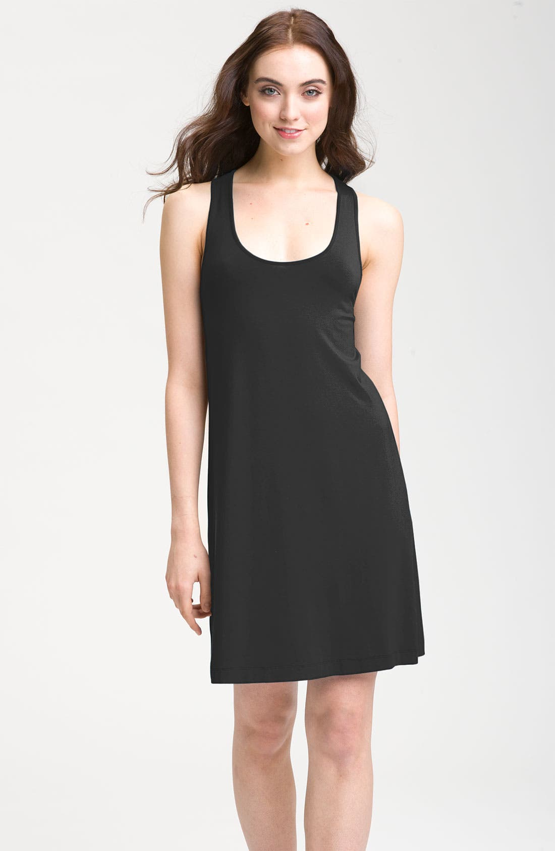 CALVIN KLEIN,                             Knot Racerback Jersey Dress,                             Main thumbnail 1, color,                             001