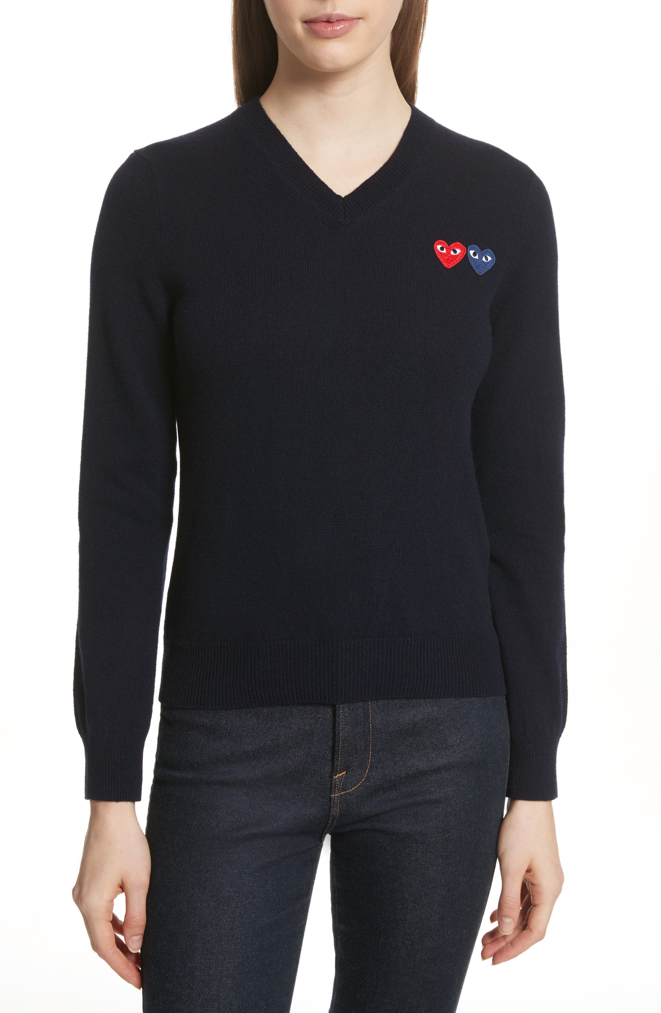 Comme des Garçons PLAY Wool Sweater,                             Main thumbnail 1, color,                             NAVY