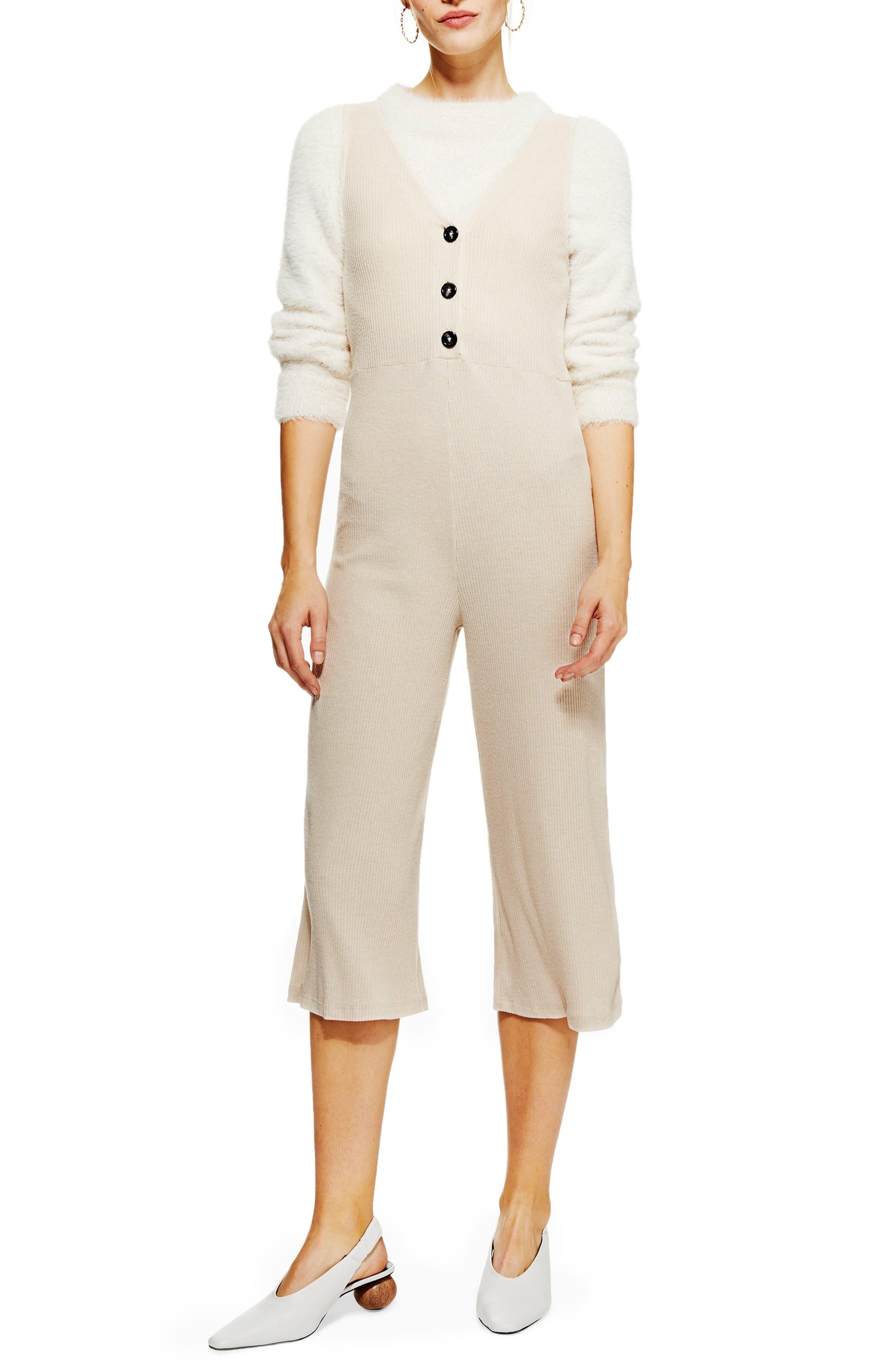 Button Front Jumpsuit,                         Main,                         color, CREAM