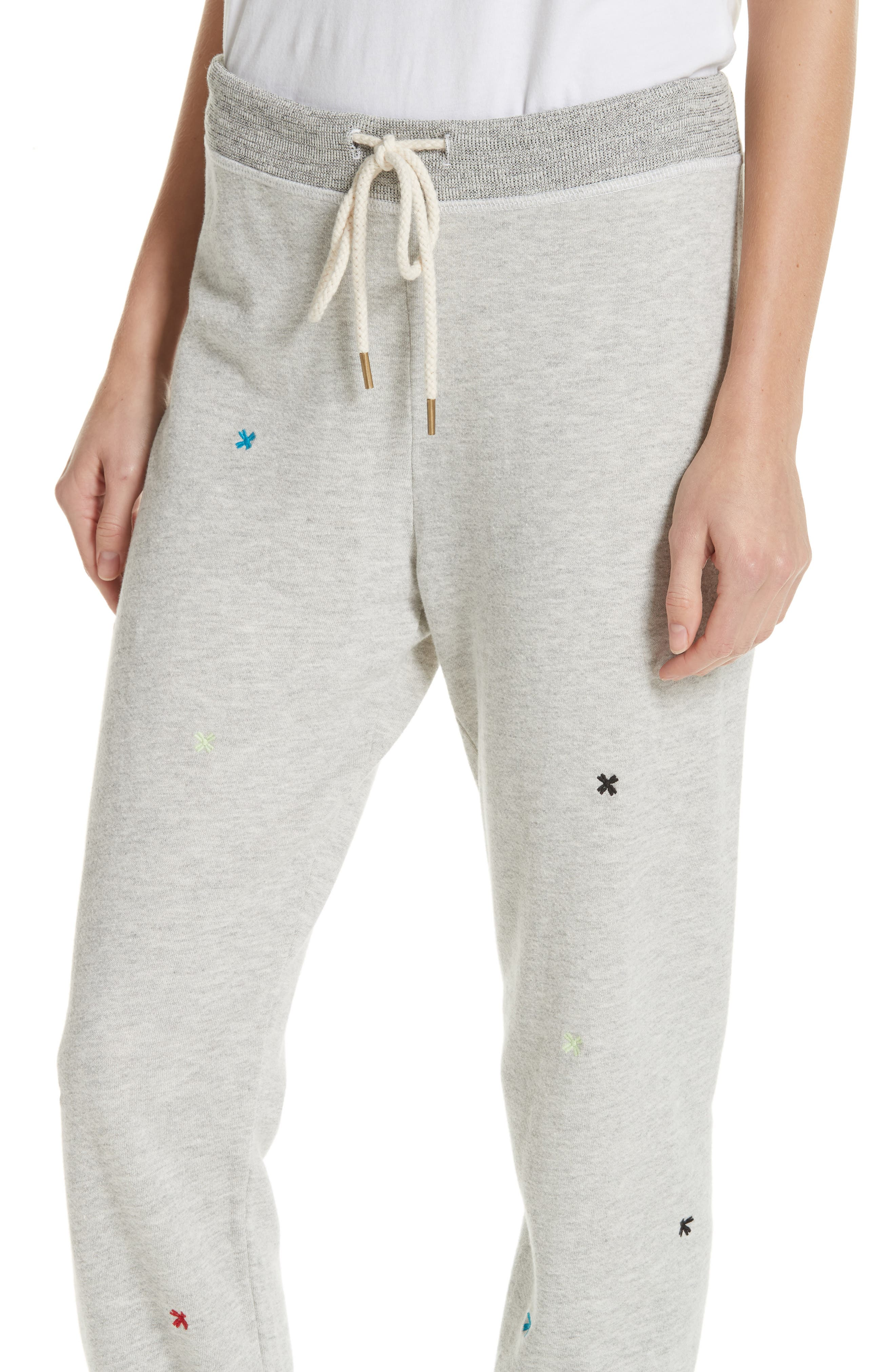 The Cropped Sweatpants,                             Alternate thumbnail 4, color,                             HEATHER GREY/ MULTI