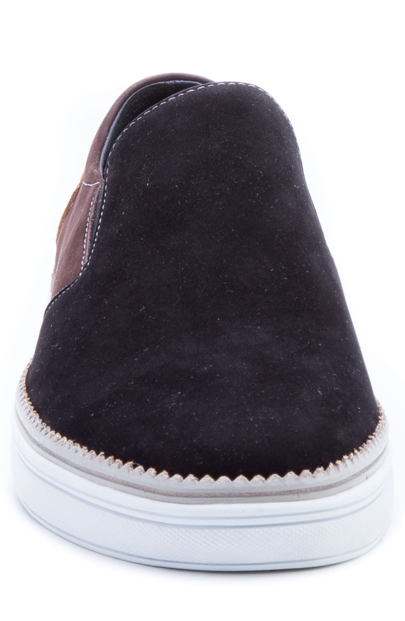 Rivera Colorblocked Slip-On Sneaker,                             Alternate thumbnail 4, color,                             BLACK SUEDE