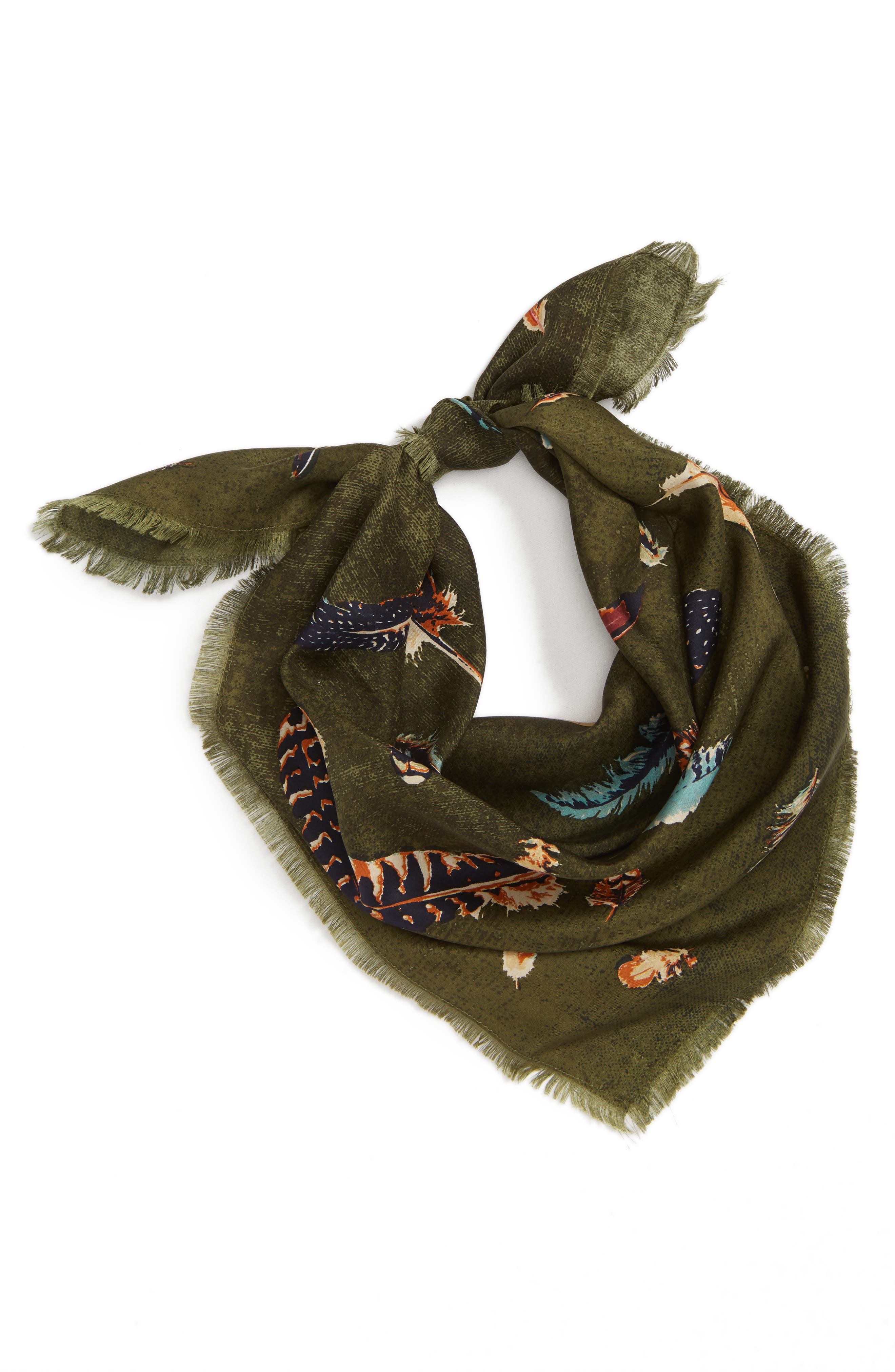 Print Square Silk Scarf,                             Alternate thumbnail 2, color,                             OLIVE FEATHER FLOW