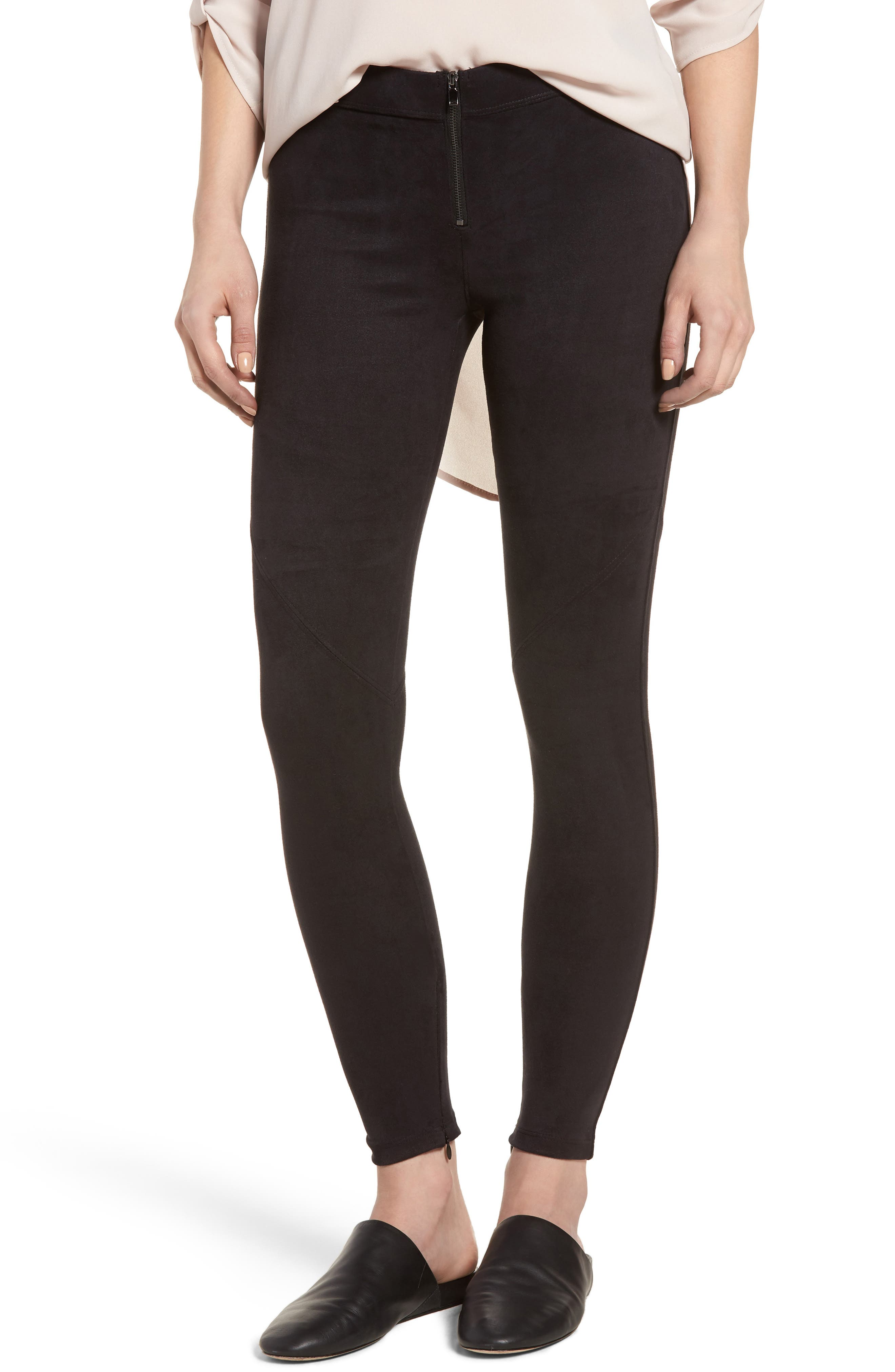 Faux Suede Leggings,                             Main thumbnail 1, color,                             BLACK