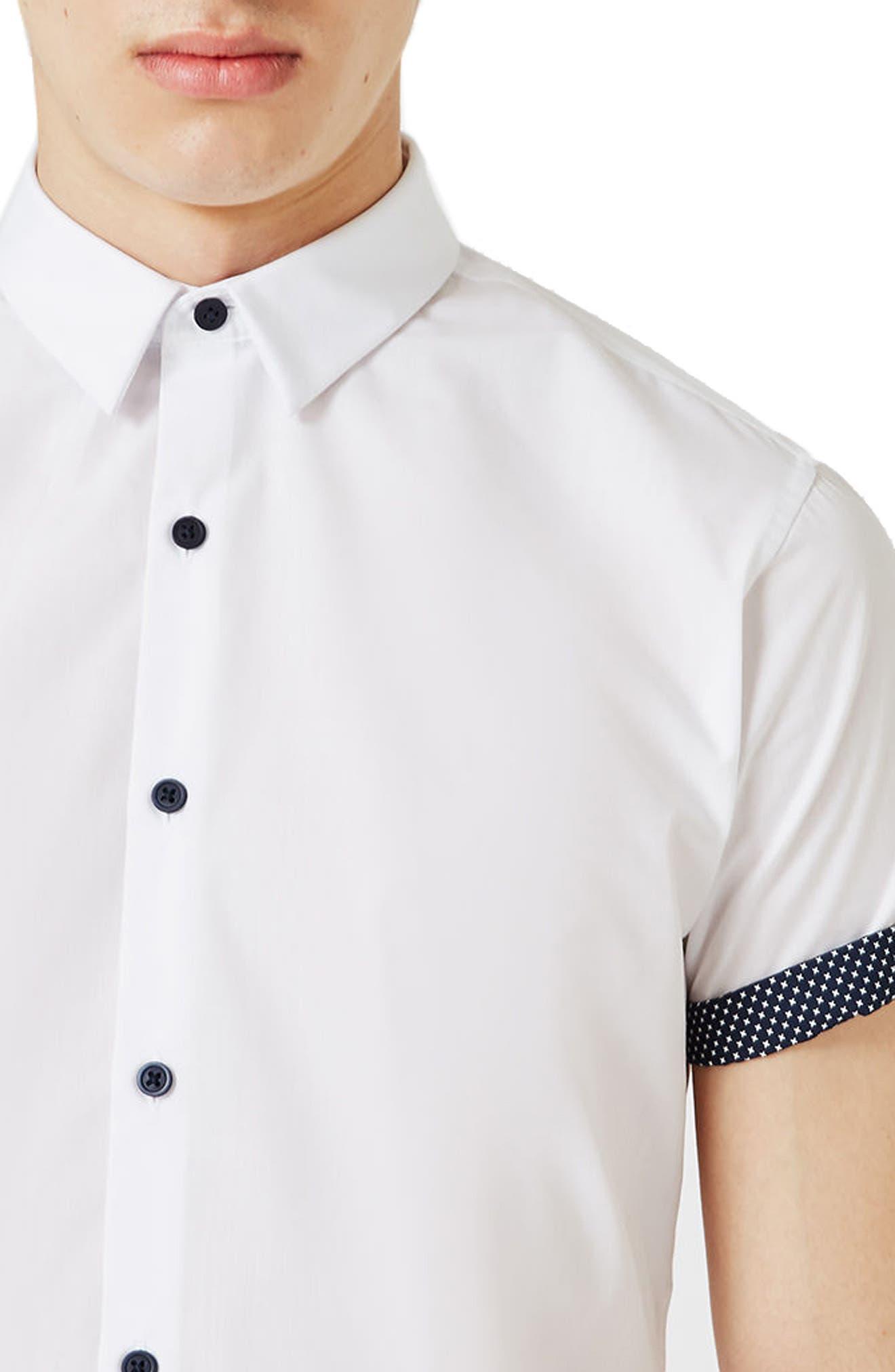 Dot Cuff Shirt,                             Alternate thumbnail 3, color,                             100