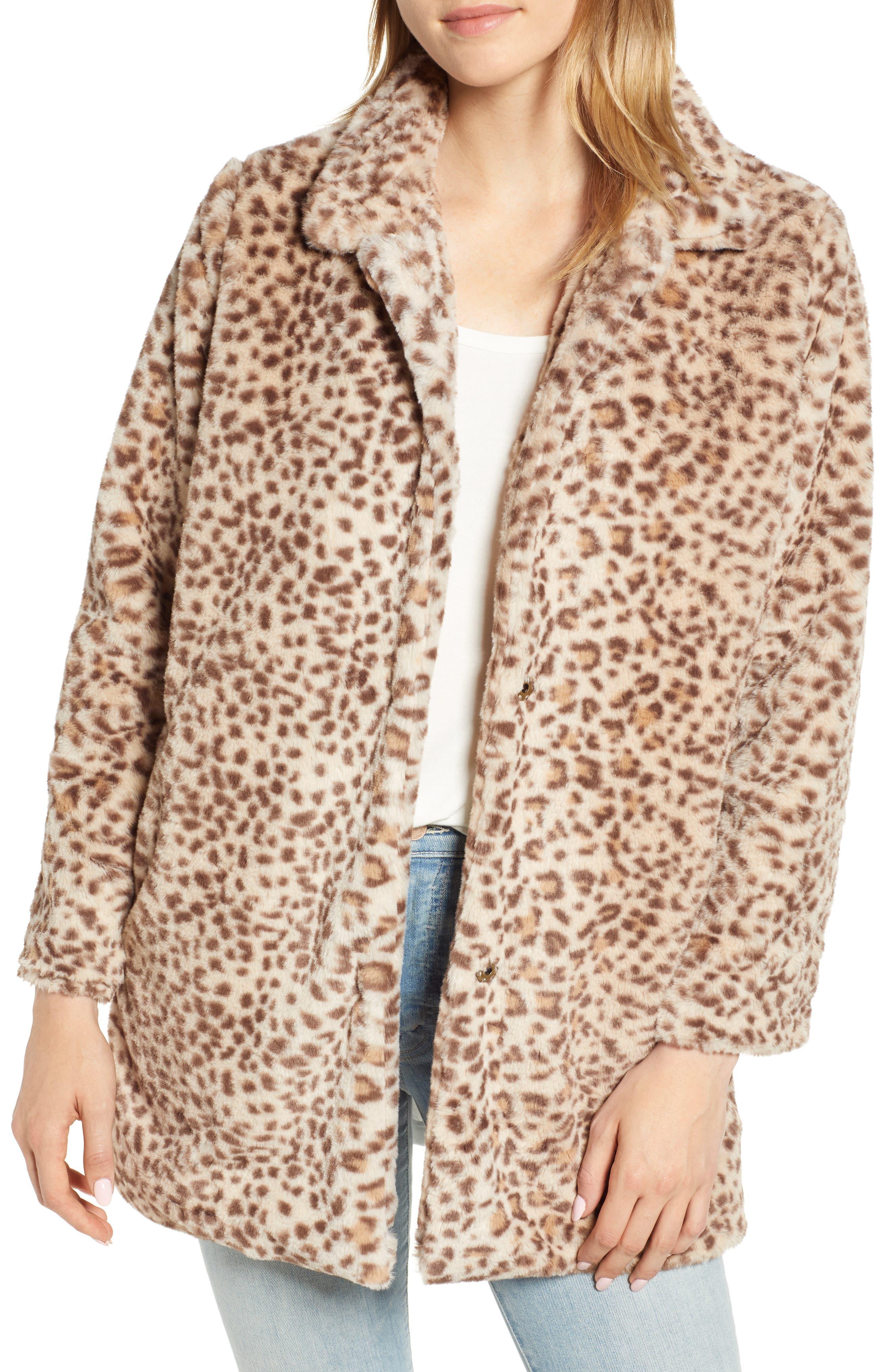 Faux Leopard Fur Coat,                             Main thumbnail 1, color,                             TAN