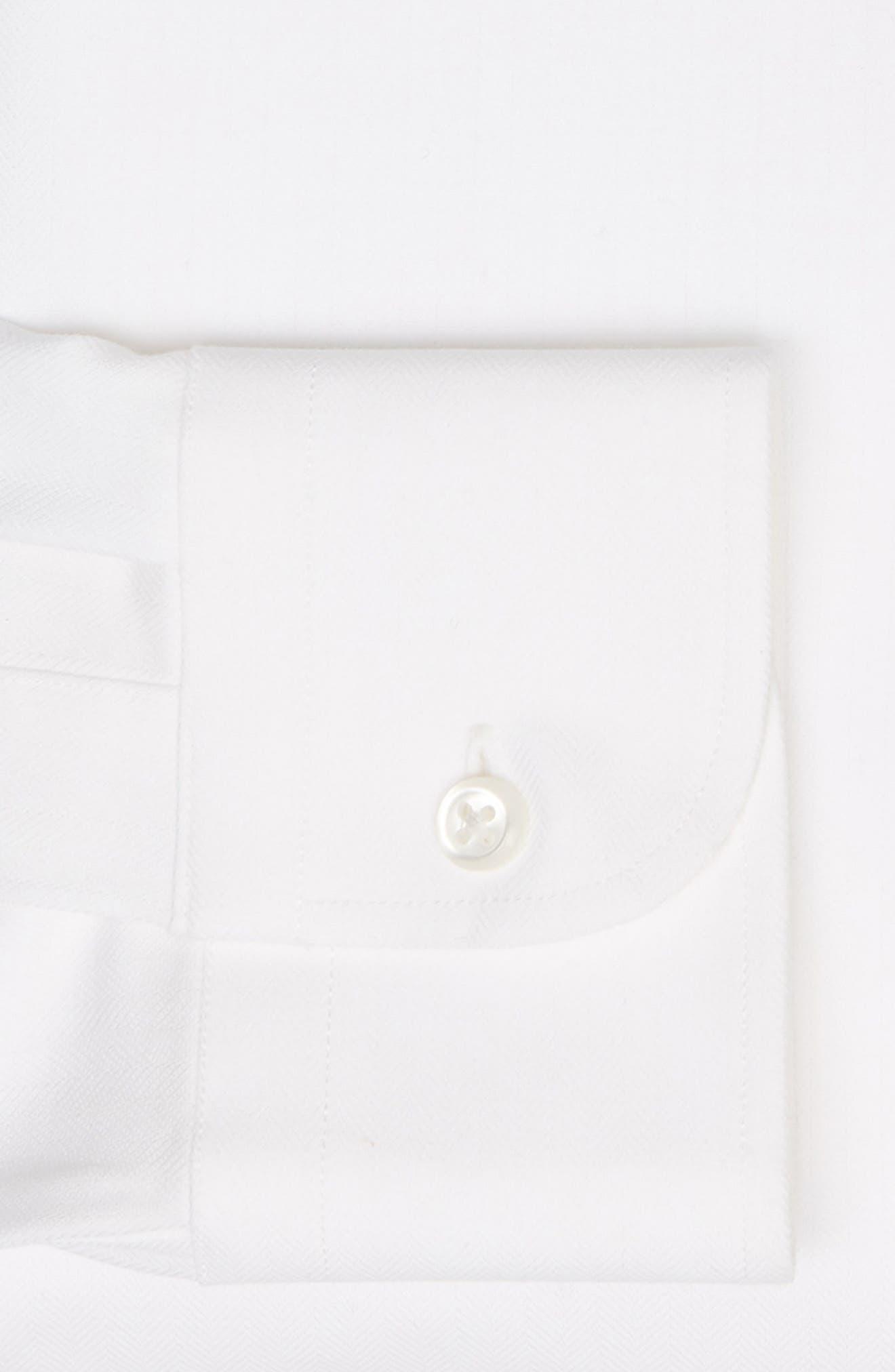 Tech-Smart Trim Fit Stretch Herringbone Dress Shirt,                             Alternate thumbnail 6, color,                             WHITE