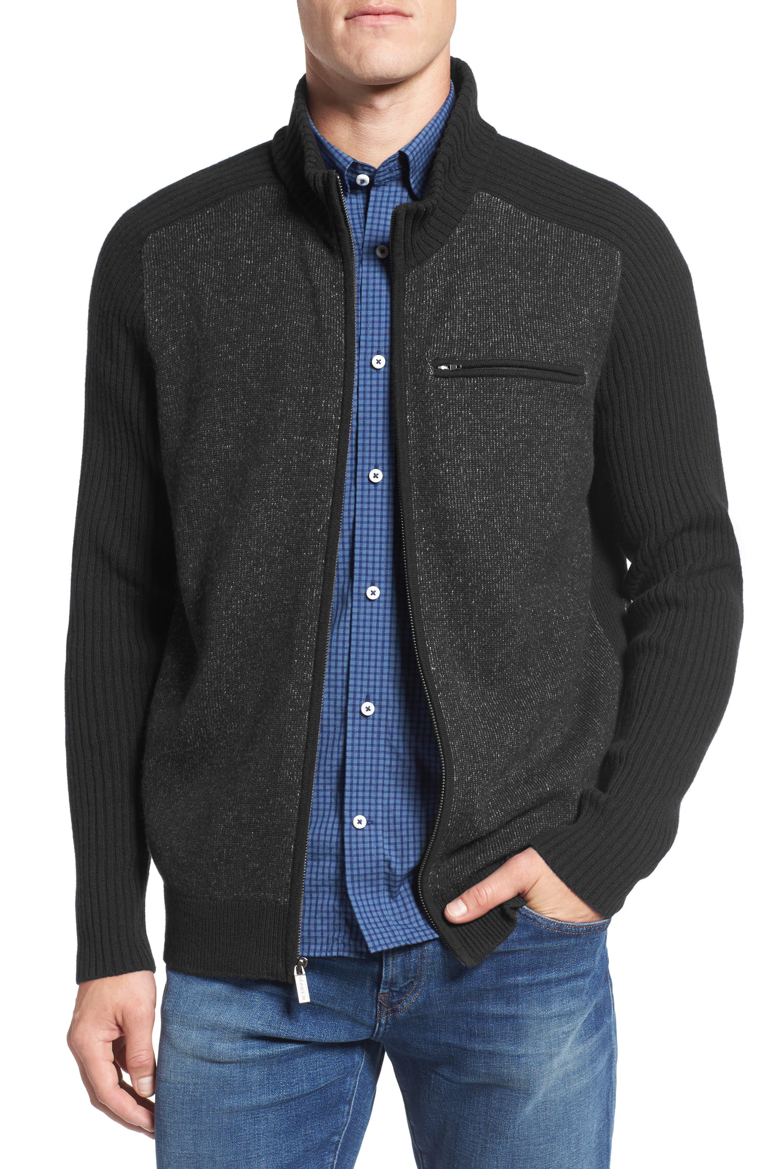Full Zip Merino Wool & Cashmere Sweater,                             Alternate thumbnail 3, color,                             050