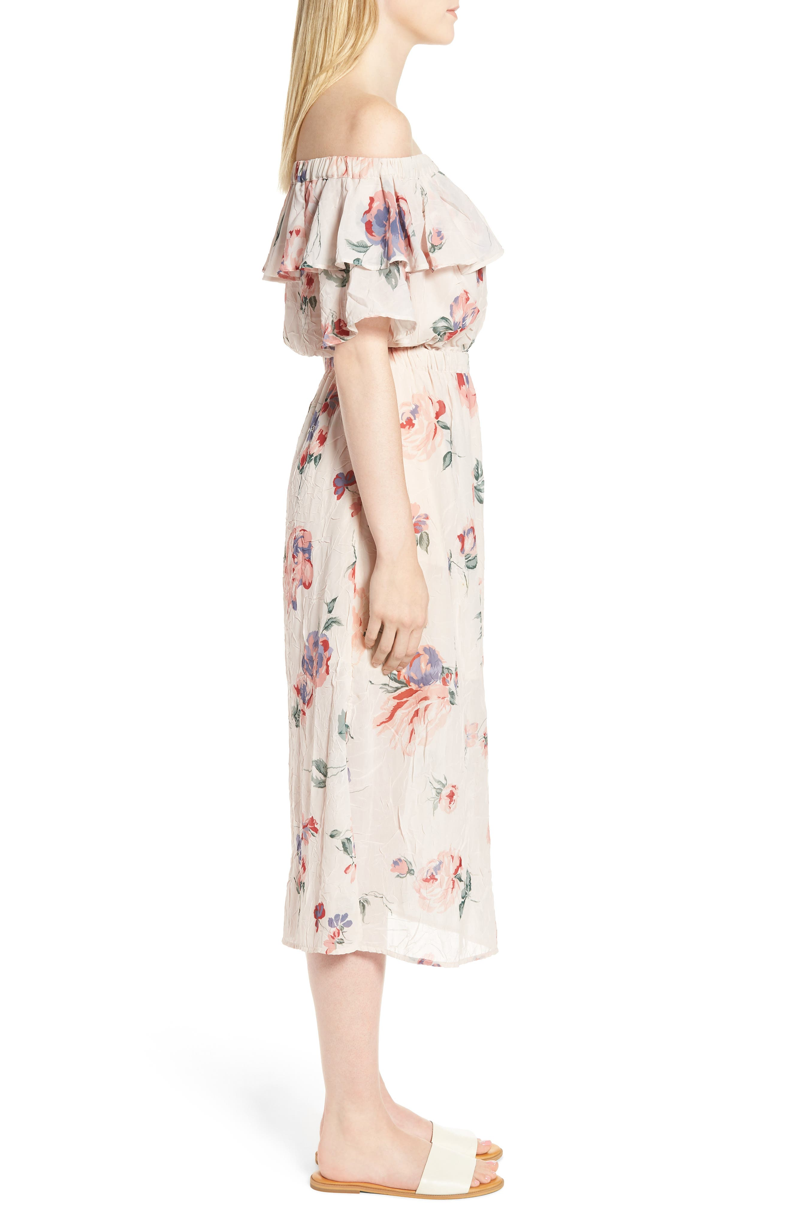 Off the Shoulder Floral Midi Dress,                             Alternate thumbnail 3, color,                             950