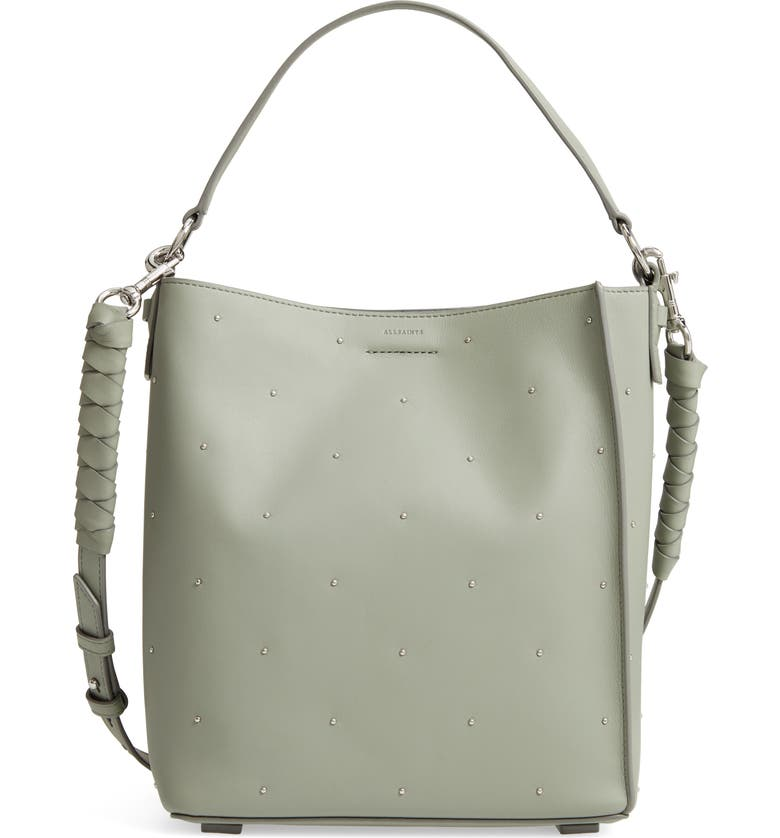 Allsaints Small Kathi Studded North South Leather Tote In Blue Grey ... a4c5b35a28c8b