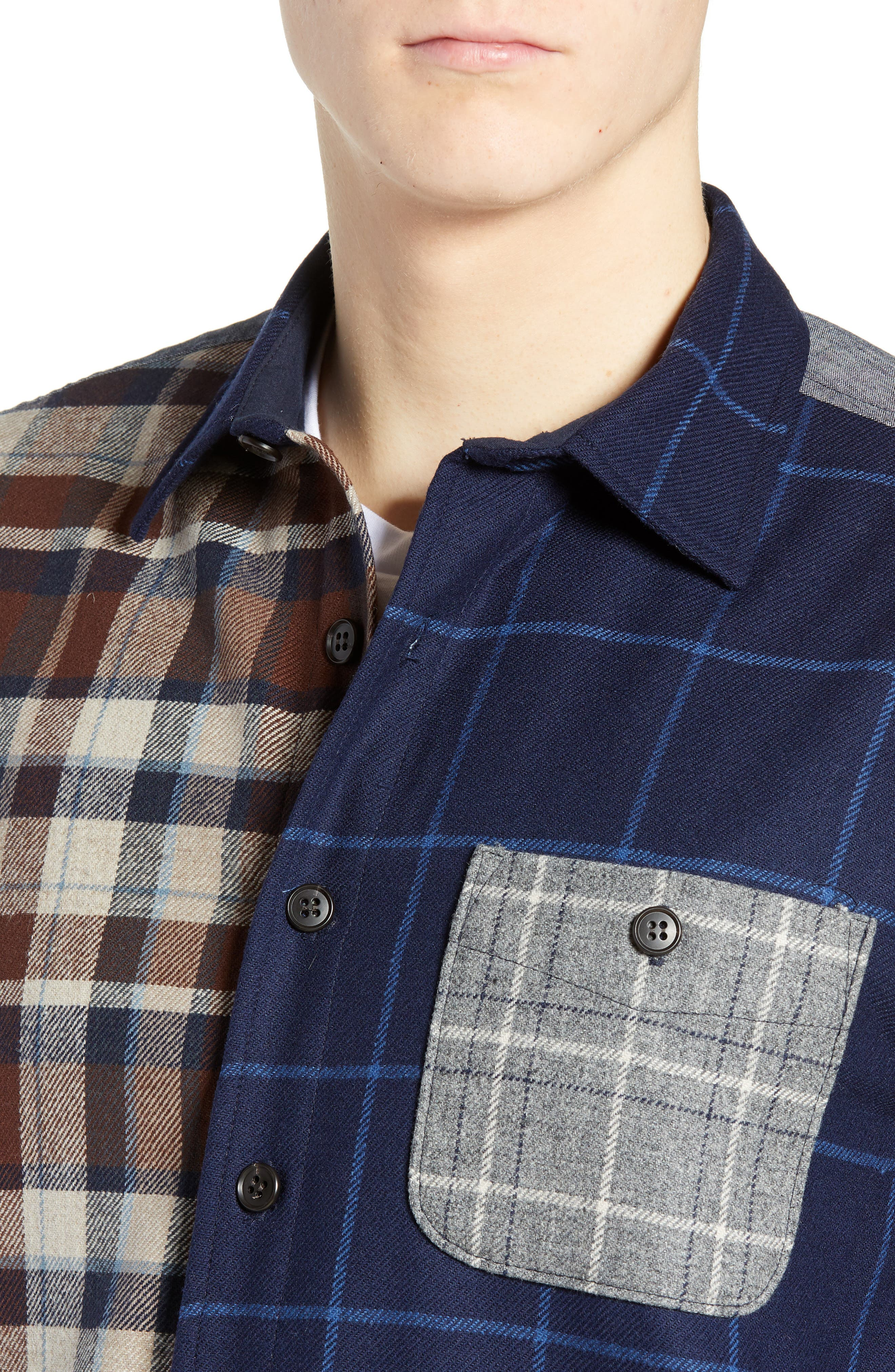 Pattern Block Wool Sport Shirt,                             Alternate thumbnail 2, color,                             MIX IT UP