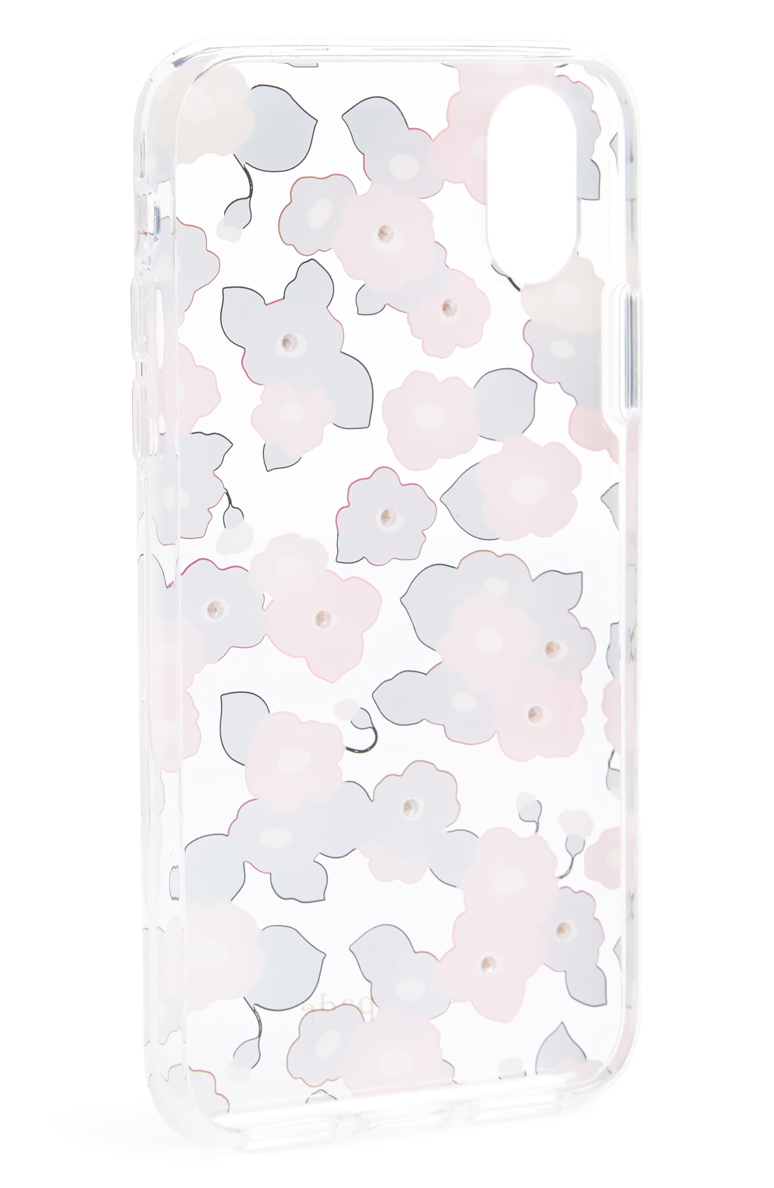 jeweled small blooms iPhone X case,                             Alternate thumbnail 2, color,