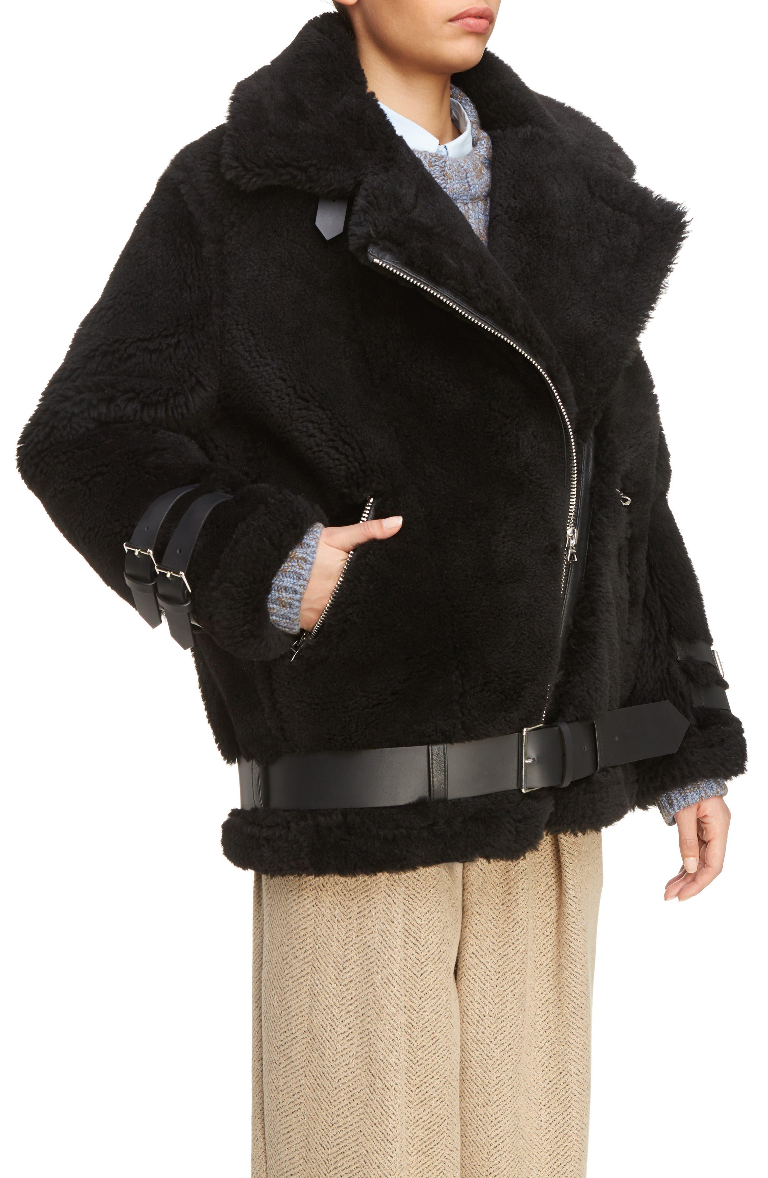 Velocite Genuine Shearling Oversize Moto Jacket,                             Alternate thumbnail 4, color,                             001