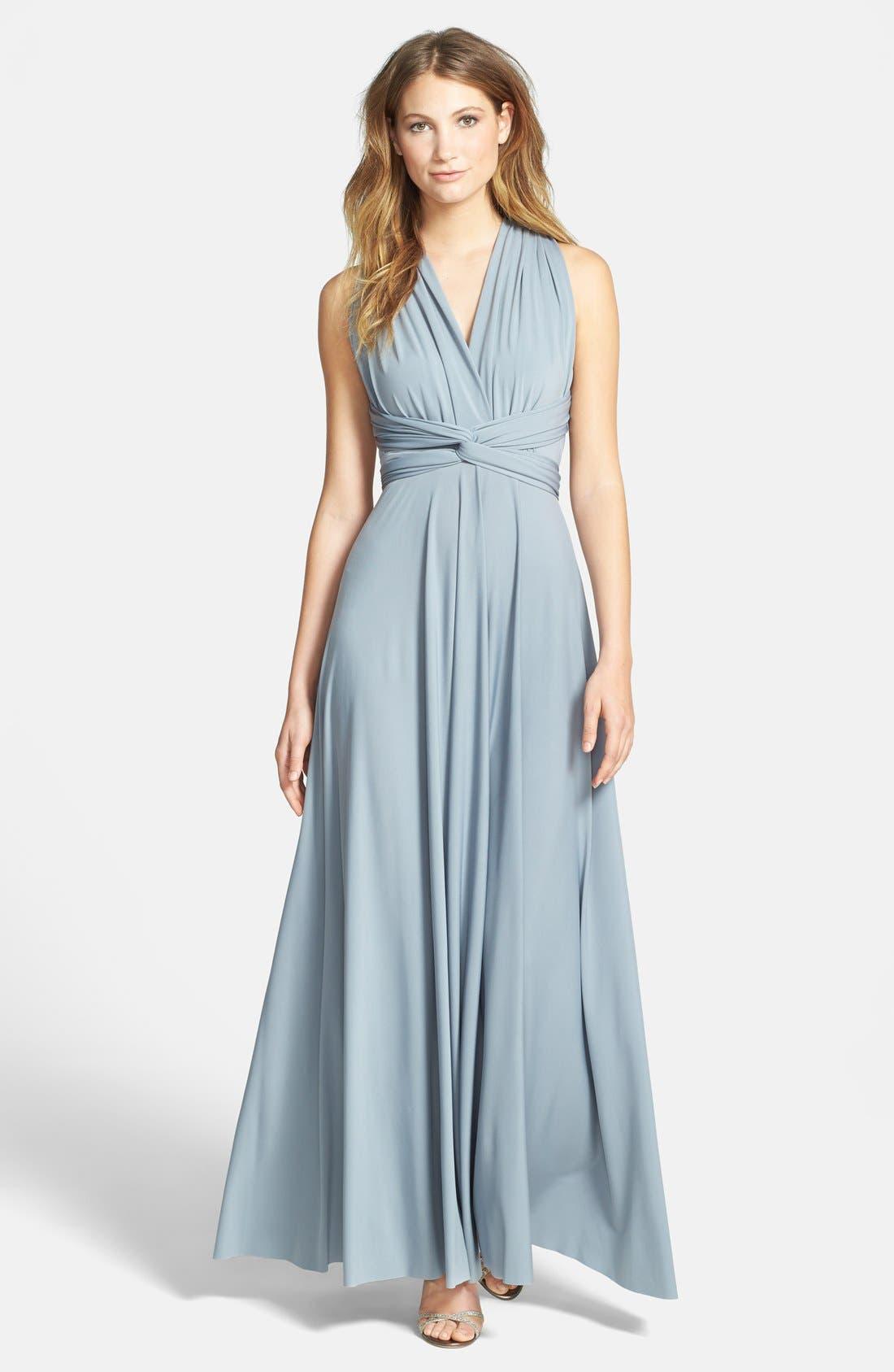 Convertible Wrap Tie Surplice Jersey Gown,                         Main,                         color,