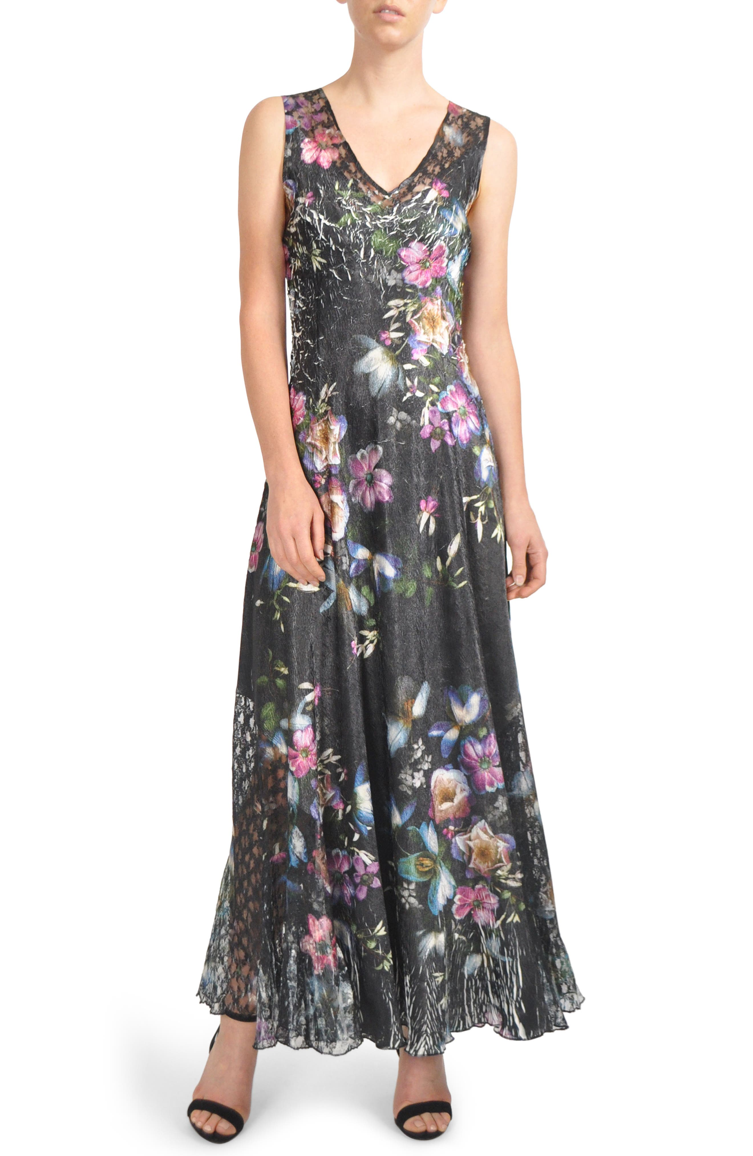 Floral Print Lace-Up Gown,                             Main thumbnail 1, color,                             VEILED GARDEN