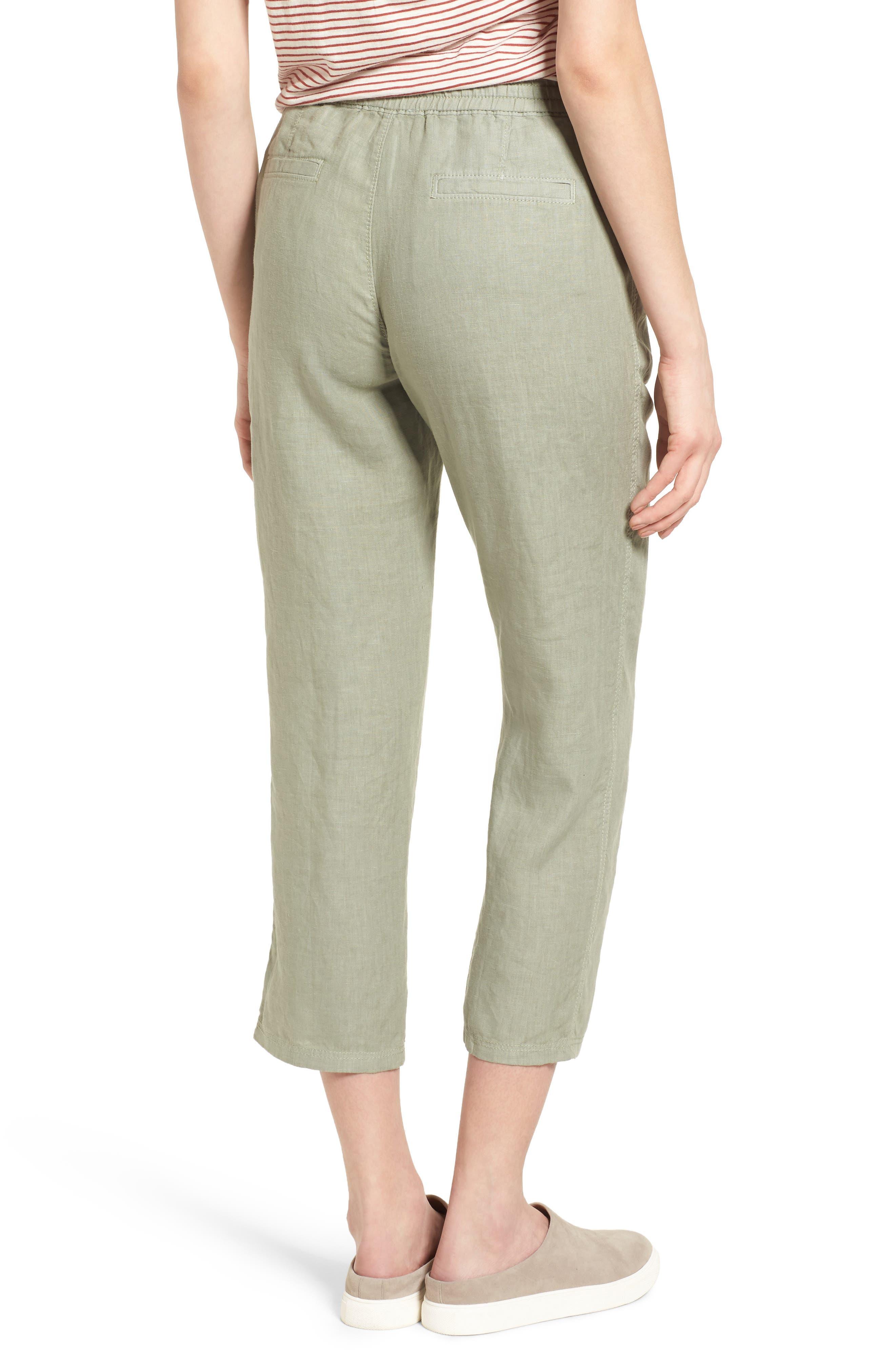 Linen Crop Pants,                             Alternate thumbnail 12, color,