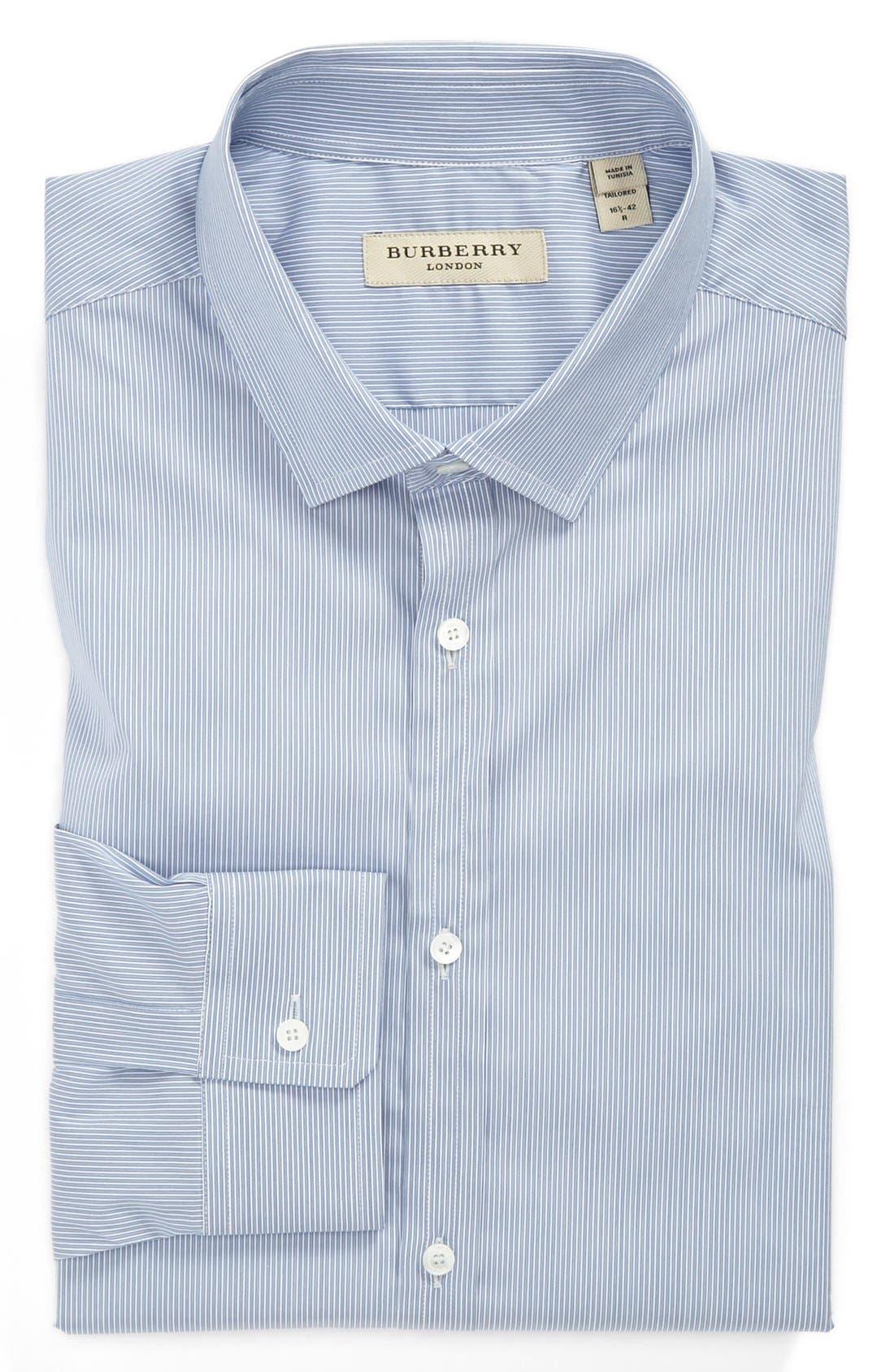 BURBERRY,                             London Stripe Tailored Fit Dress Shirt,                             Main thumbnail 1, color,                             426