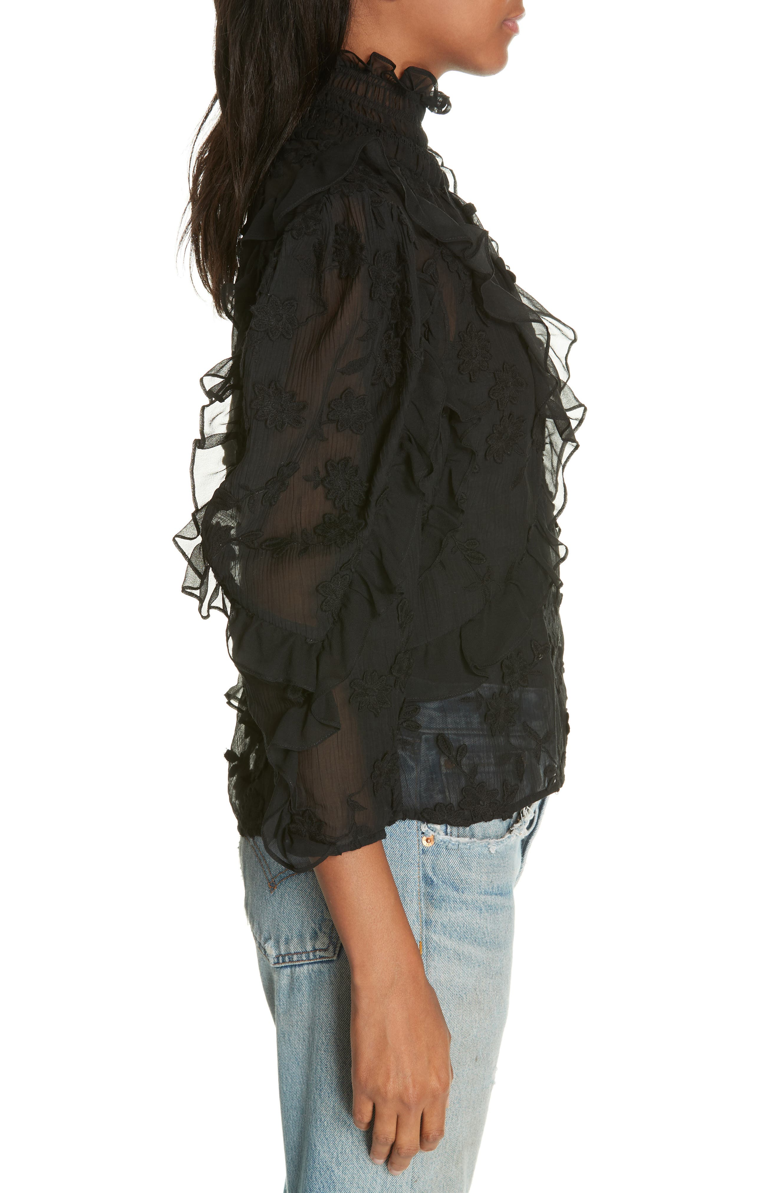 Ruffle Embroidered Silk Top,                             Alternate thumbnail 3, color,                             BLACK